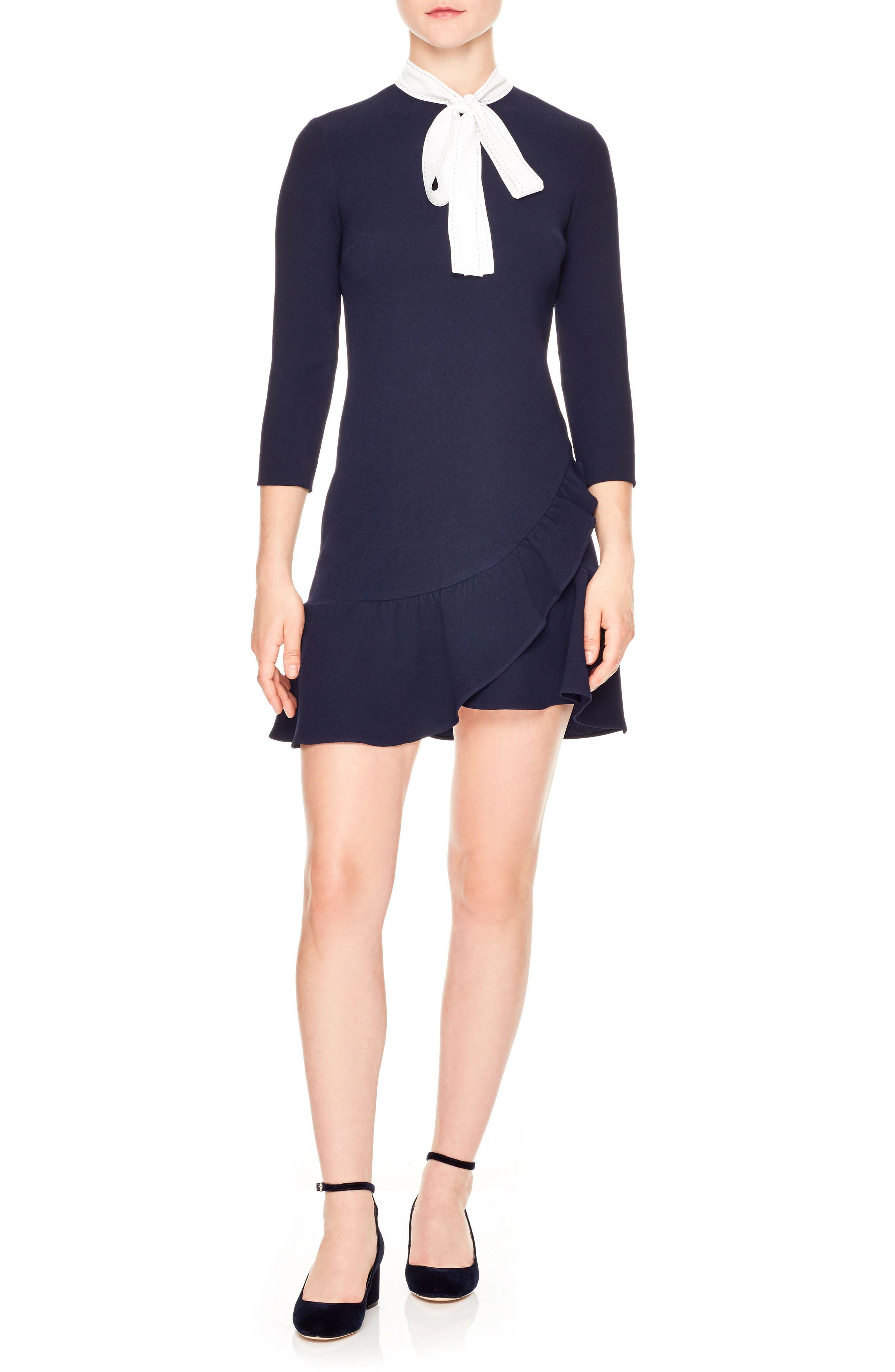 Ghalia Tie Neck Dress,                         Main,                         color, 401
