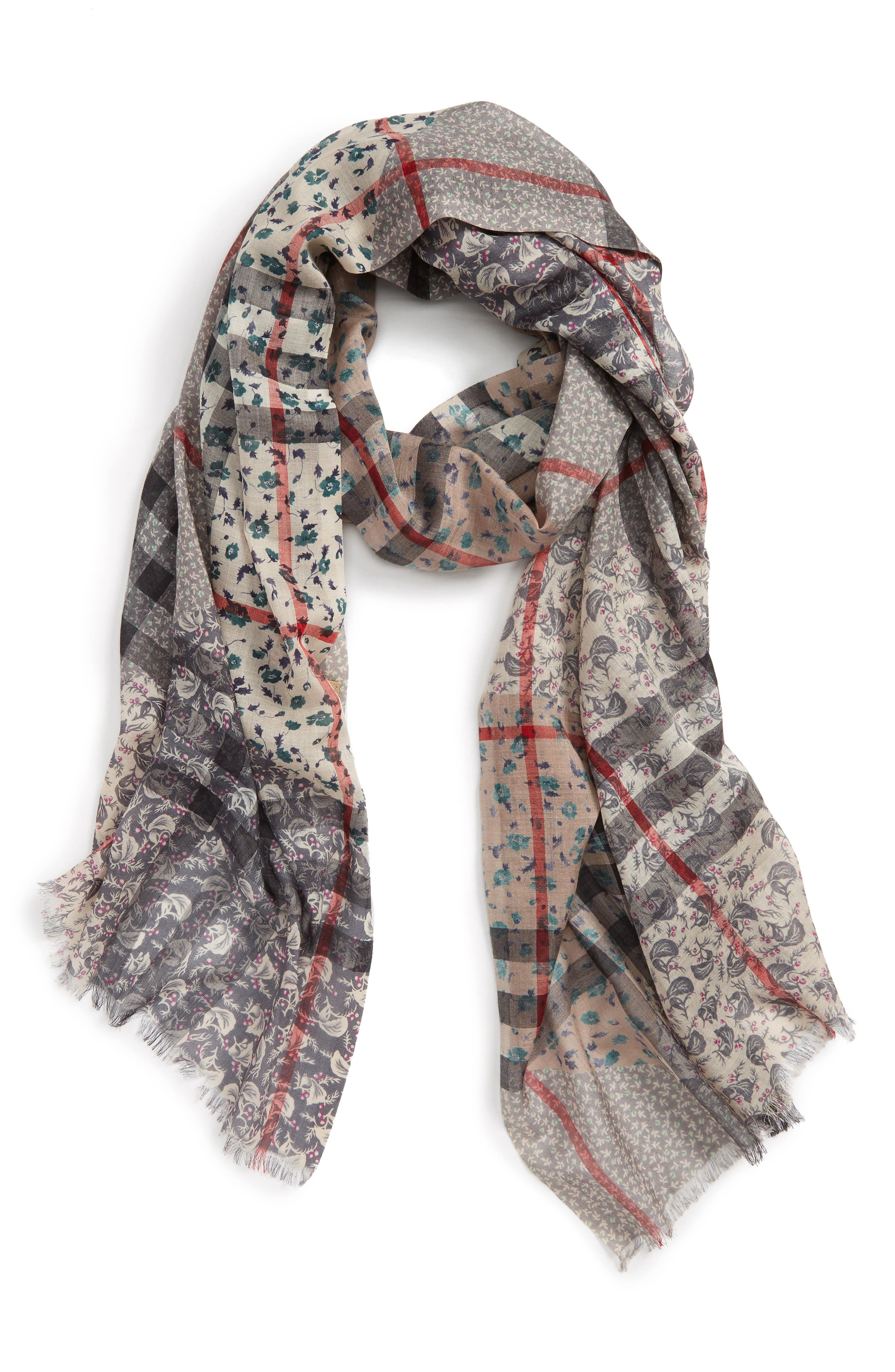 Patchwork Floral & Check Wool & Silk Scarf,                         Main,                         color, 409