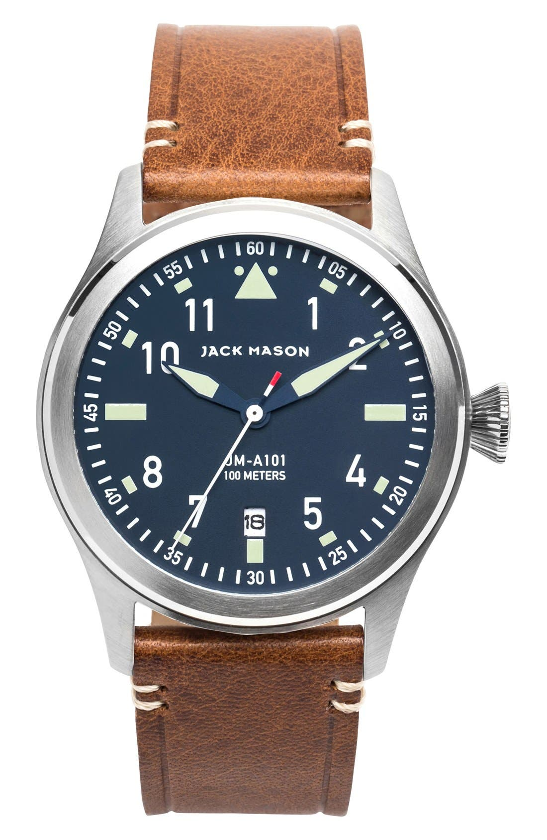 Aviation Leather Strap Watch, 42mm,                             Main thumbnail 1, color,                             NAVY/ SILVER/ SADDLE