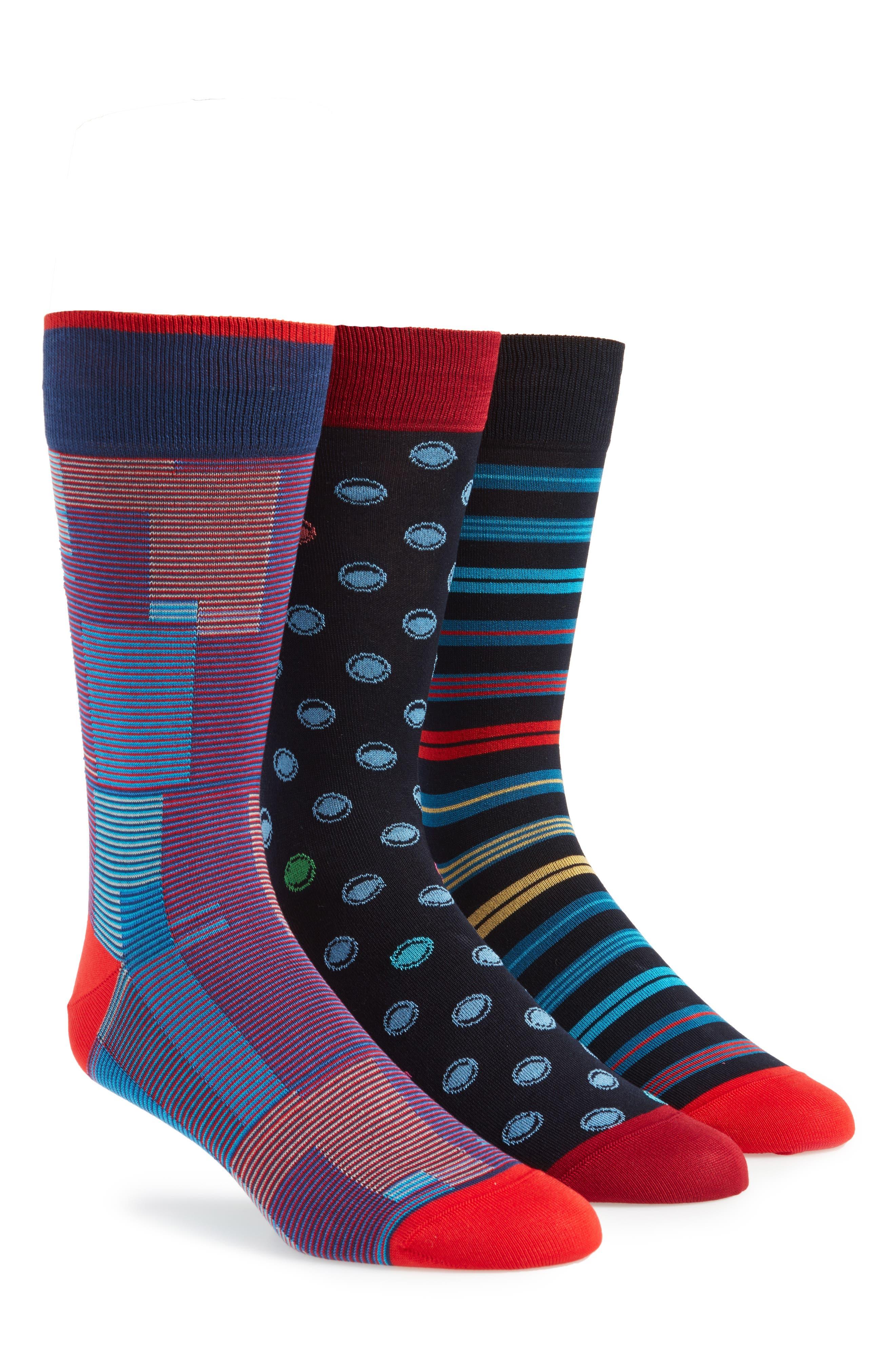 3-Pack Assorted Mercerized Cotton Blend Sock Gift Set,                             Main thumbnail 1, color,                             410