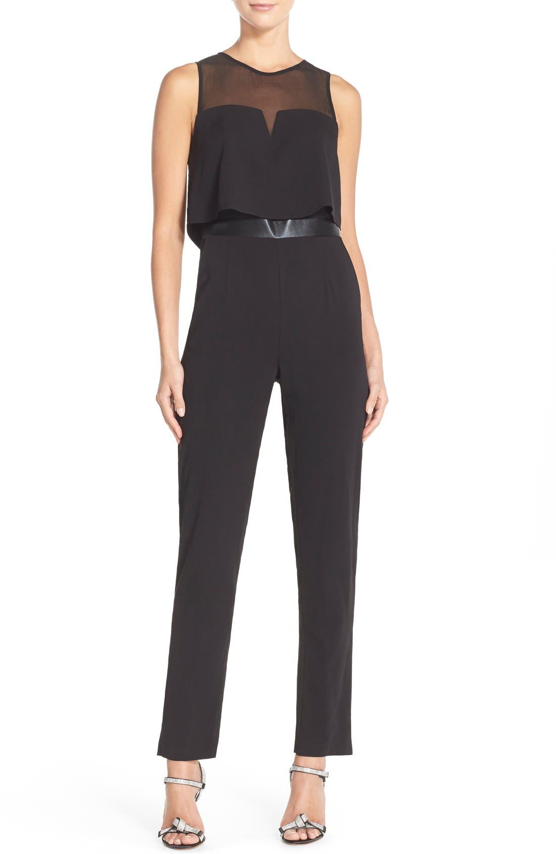 Popover Mixed Media Jumpsuit,                             Main thumbnail 1, color,                             001