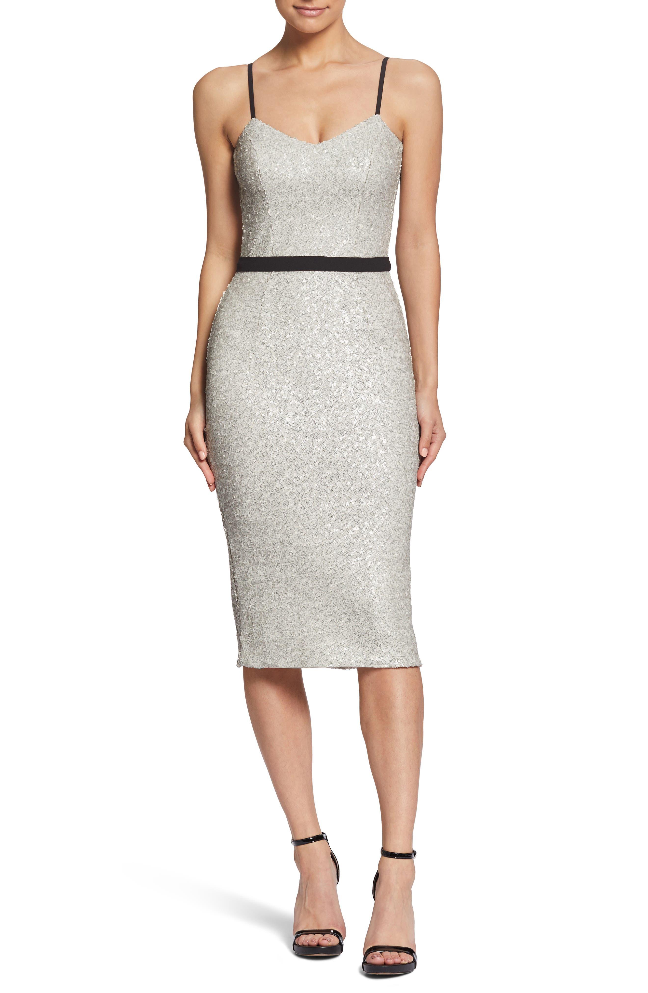 Emma Sequin Body-Con Dress,                         Main,                         color, BONE