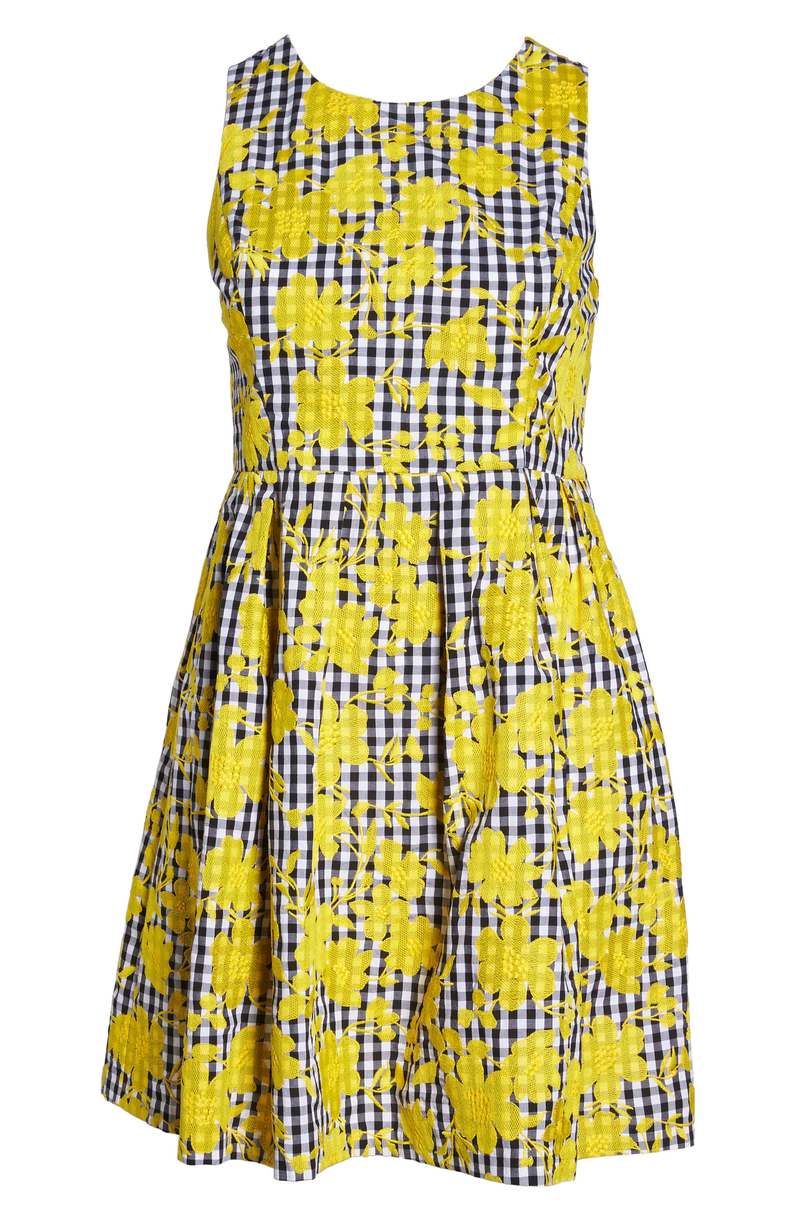 Embroidered Gingham Fit & Flare Dress,                             Alternate thumbnail 7, color,                             700