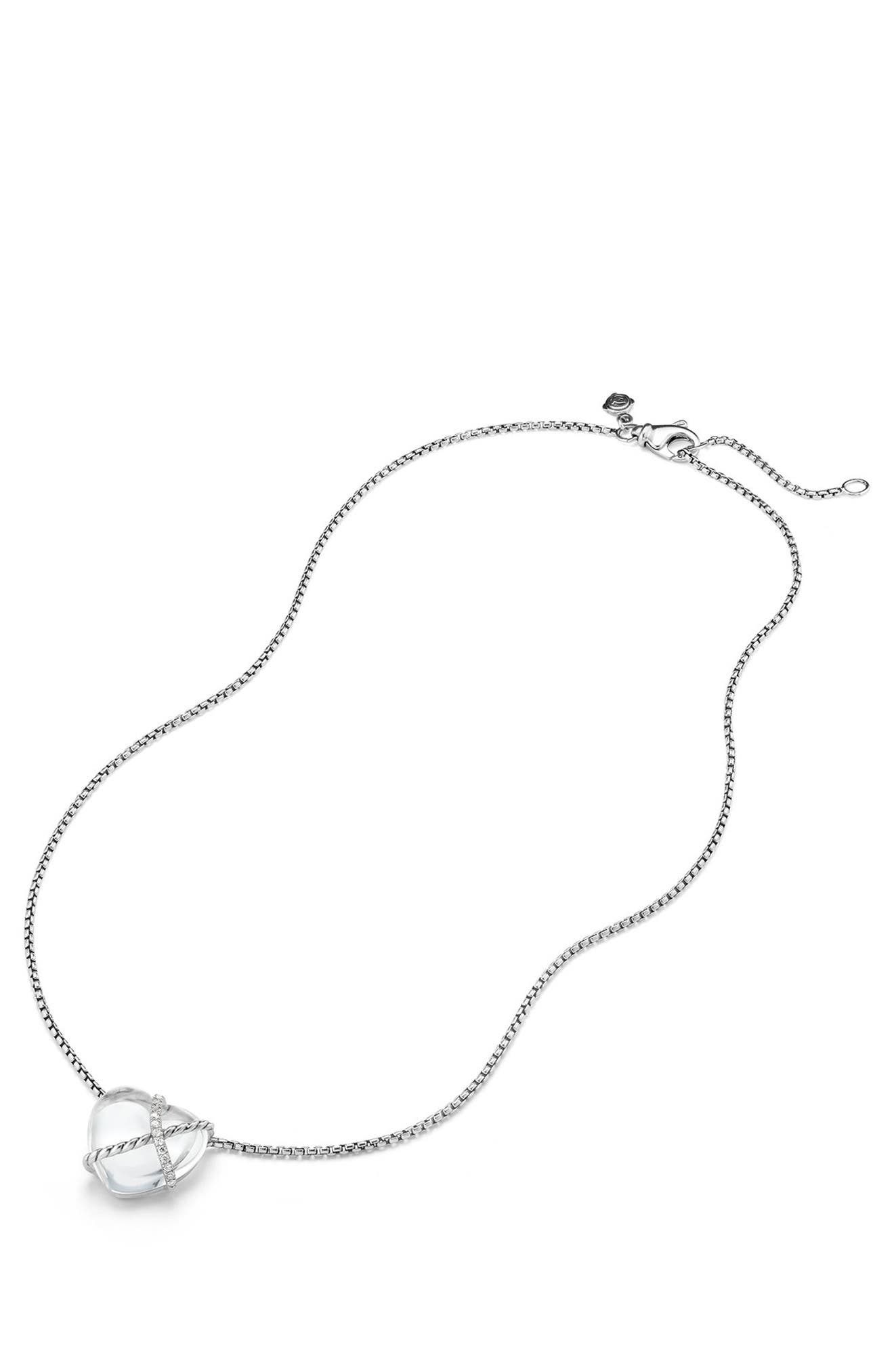 Le Petite Coeur Sculpted Heart Chain Necklace with Diamonds,                             Alternate thumbnail 4, color,                             CRYSTAL