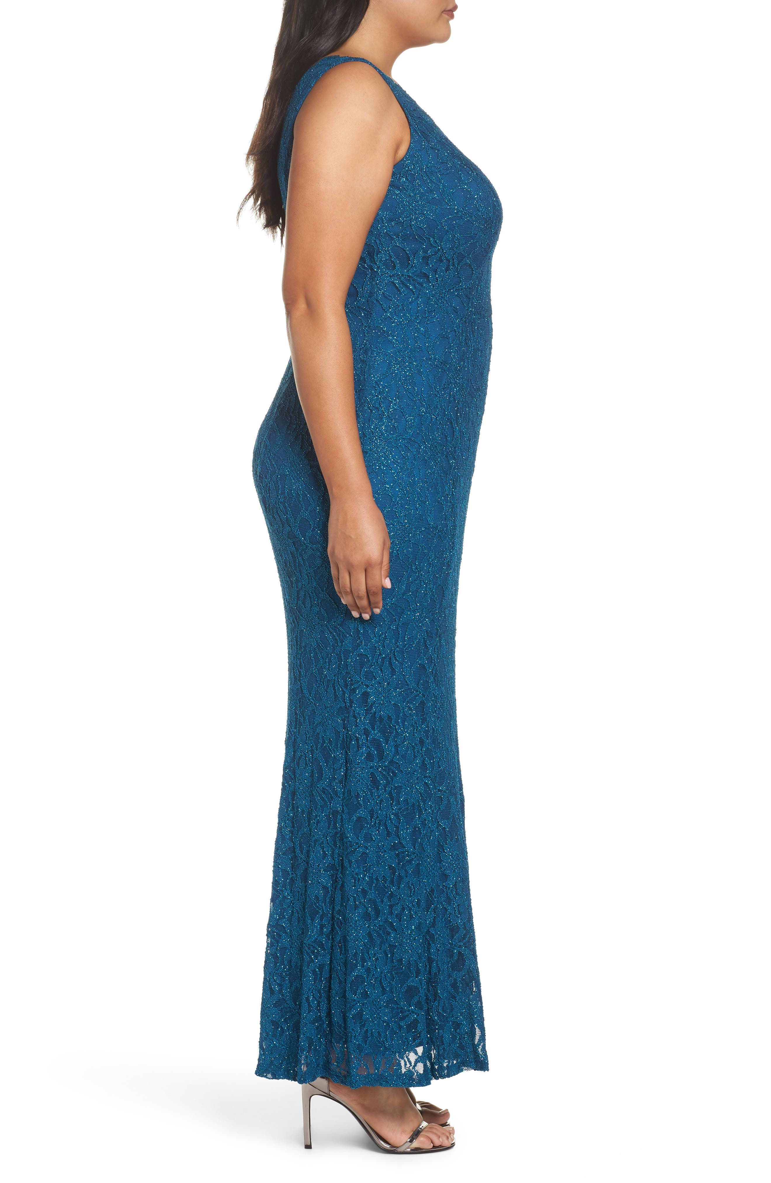 Illusion Lace A-Line Gown,                             Alternate thumbnail 3, color,                             TEAL