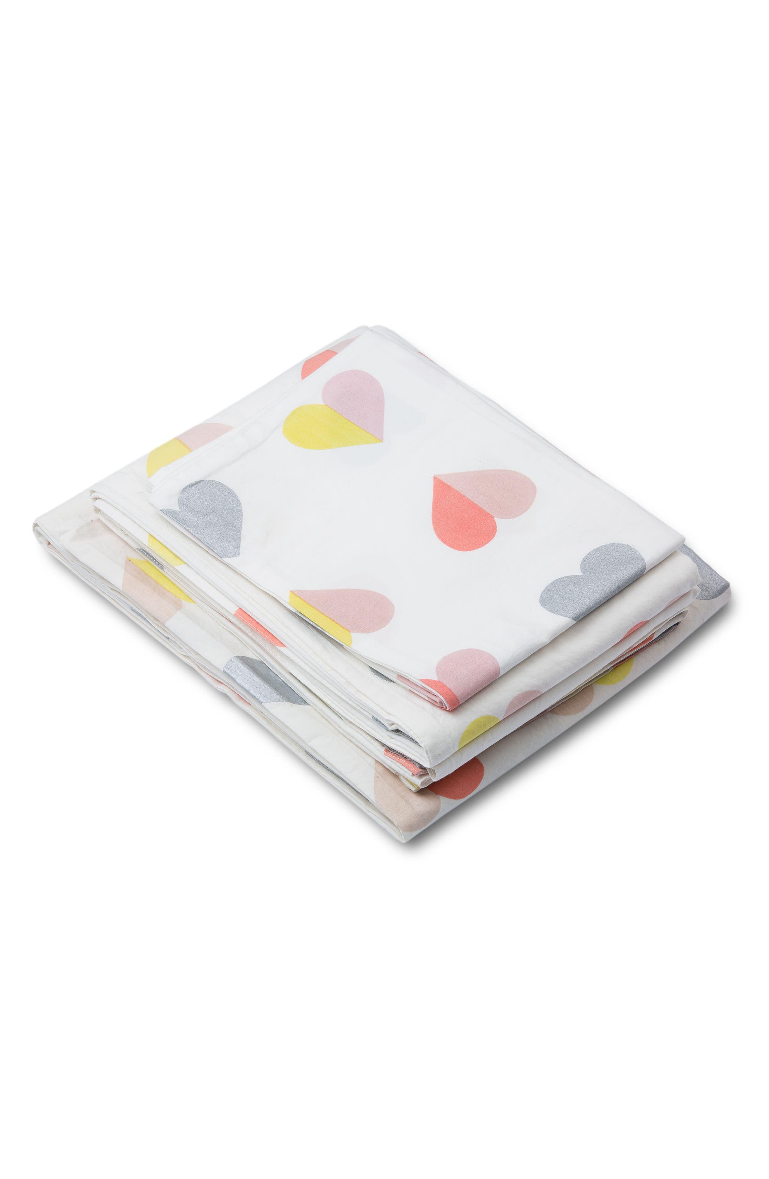 Hearts Twin Sheet & Pillowcase Set,                             Alternate thumbnail 3, color,                             MULTI