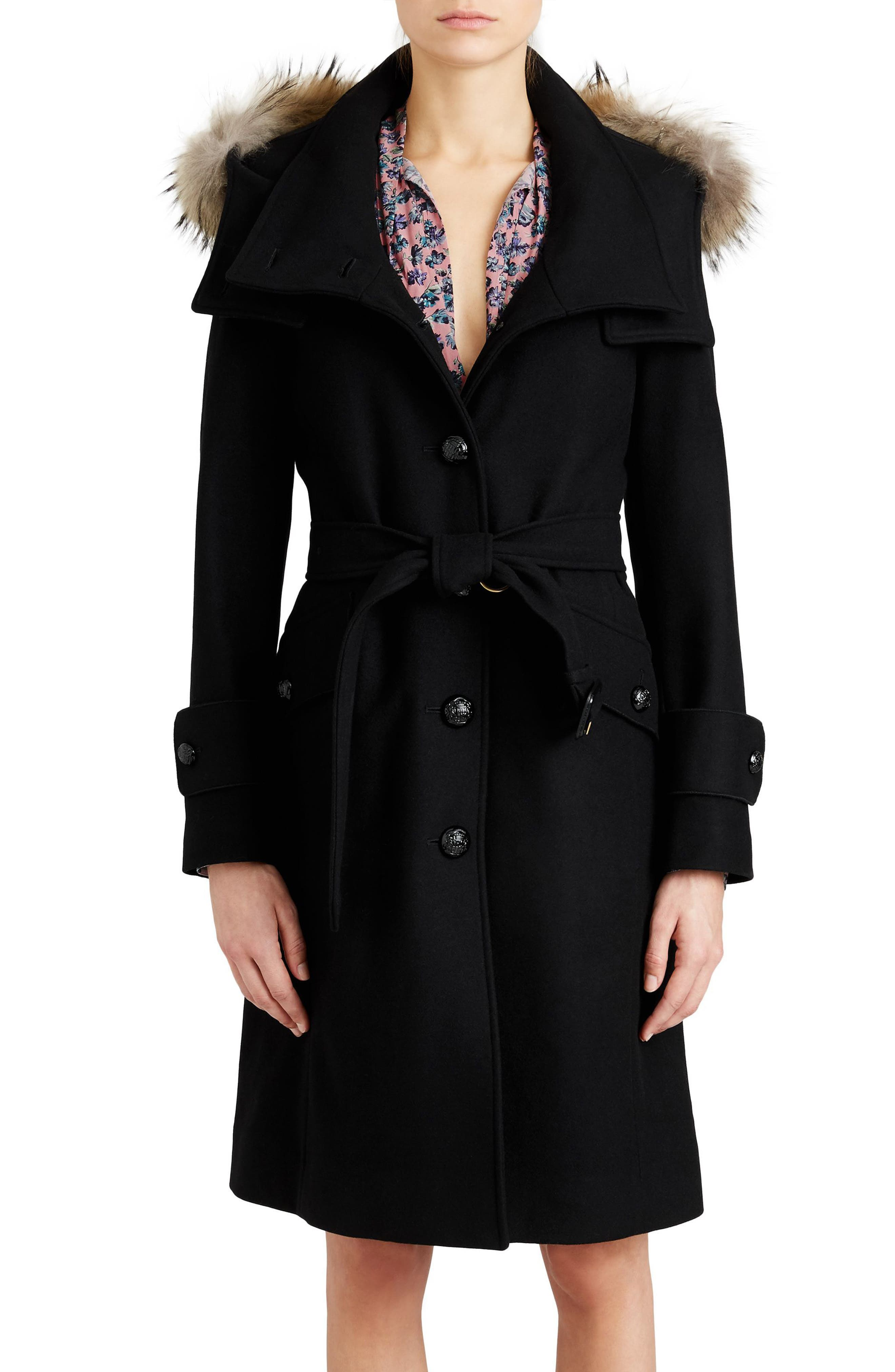 Claybrooke Wool Blend Coat with Removable Genuine Fox Fur Trim,                         Main,                         color, 001