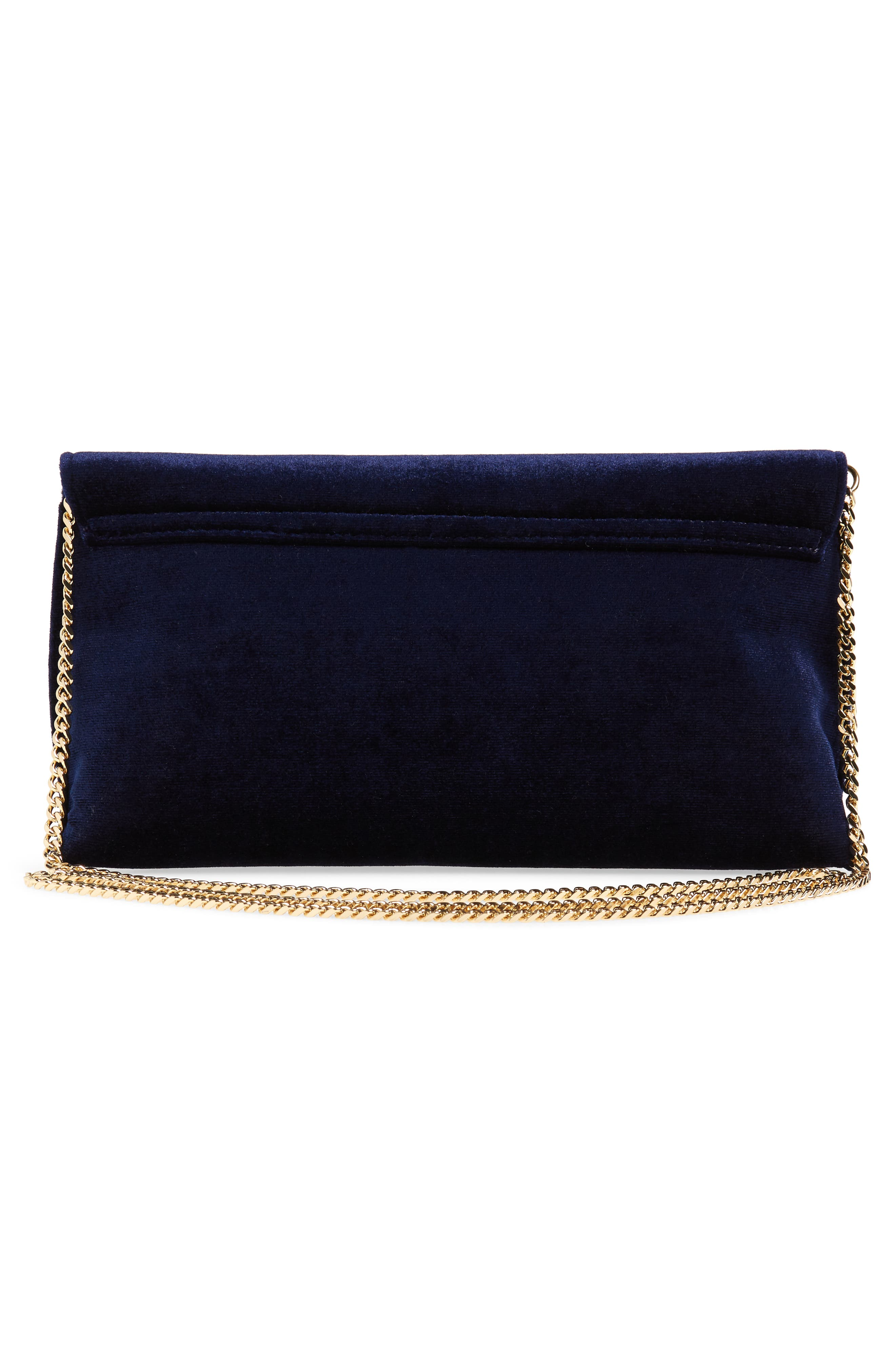 Kasia Beaded Dragonfly Velvet Clutch,                             Alternate thumbnail 3, color,                             DARK BLUE