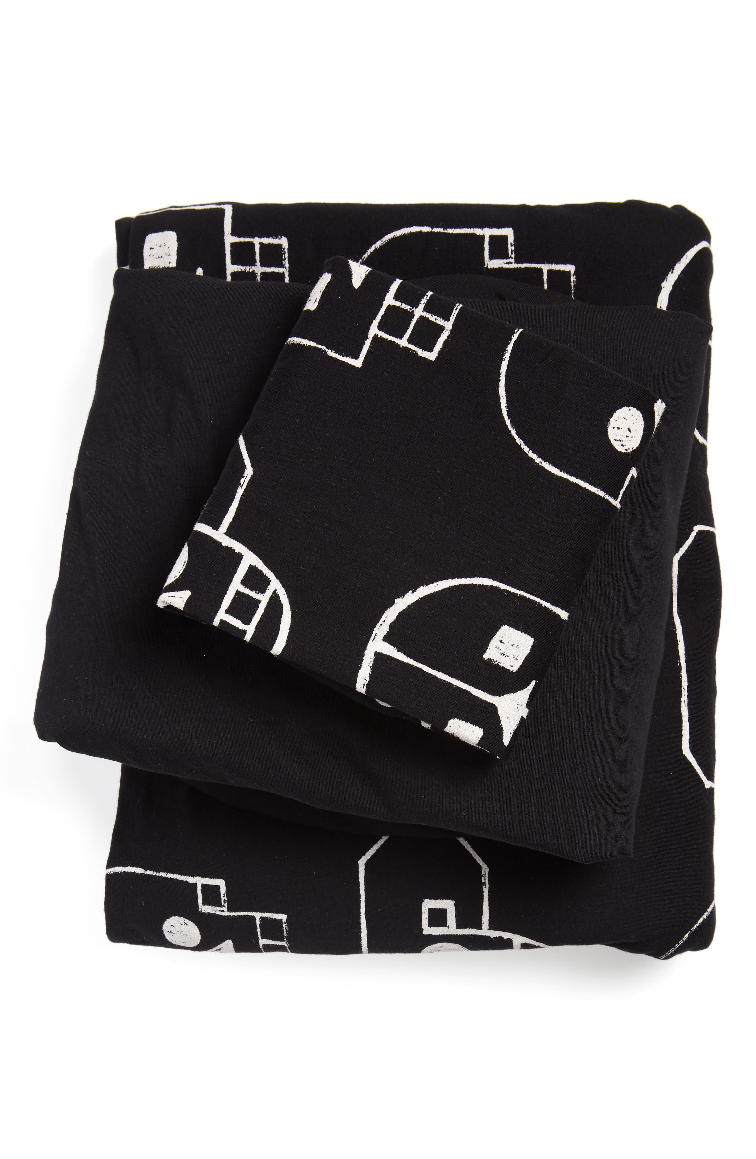 Skull Robot Duvet Cover & Sheet Set,                         Main,                         color, BLACK
