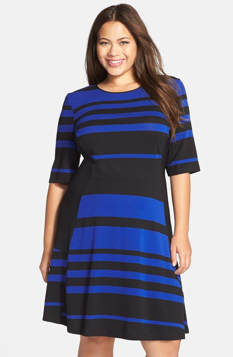 25d4605d221 Gabby Skye Stripe Elbow Sleeve Fit   Flare Dress (Plus Size)