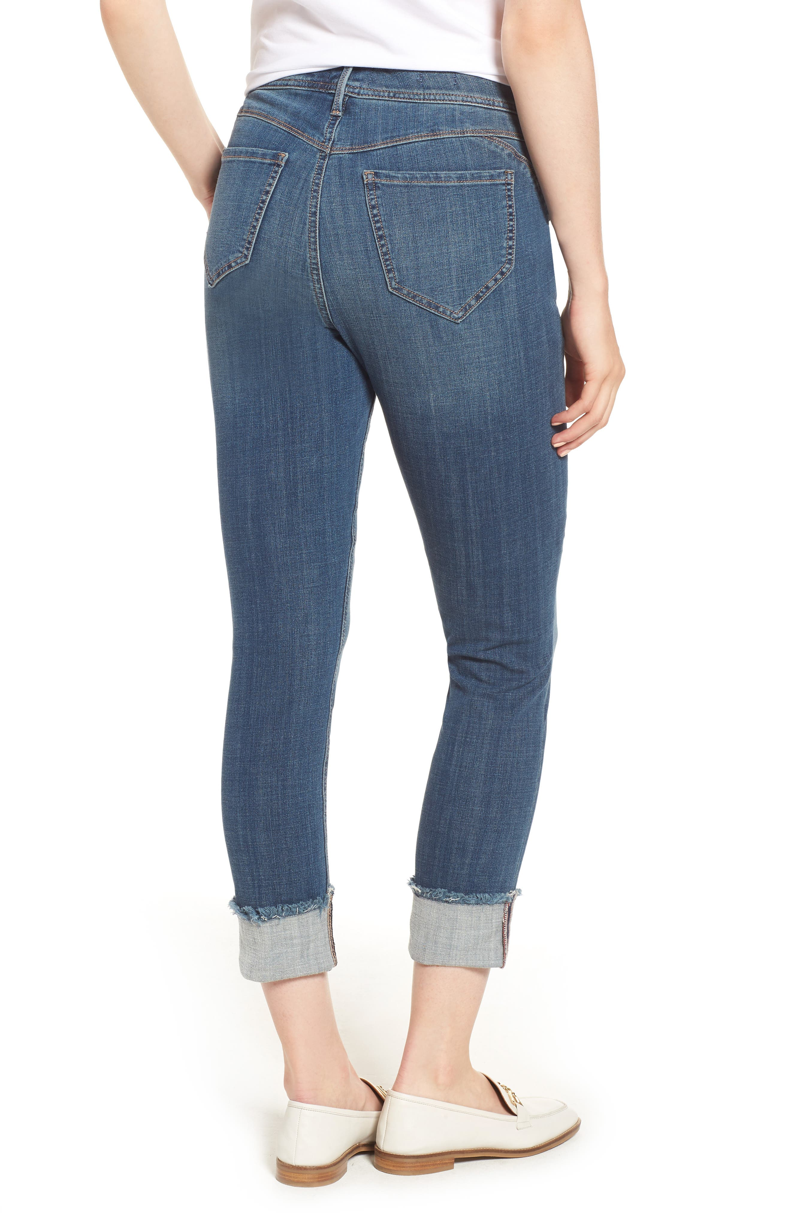 CURVES 360 BY NYDJ,                             Boost Raw Cuff Skinny Jeans,                             Alternate thumbnail 2, color,                             452