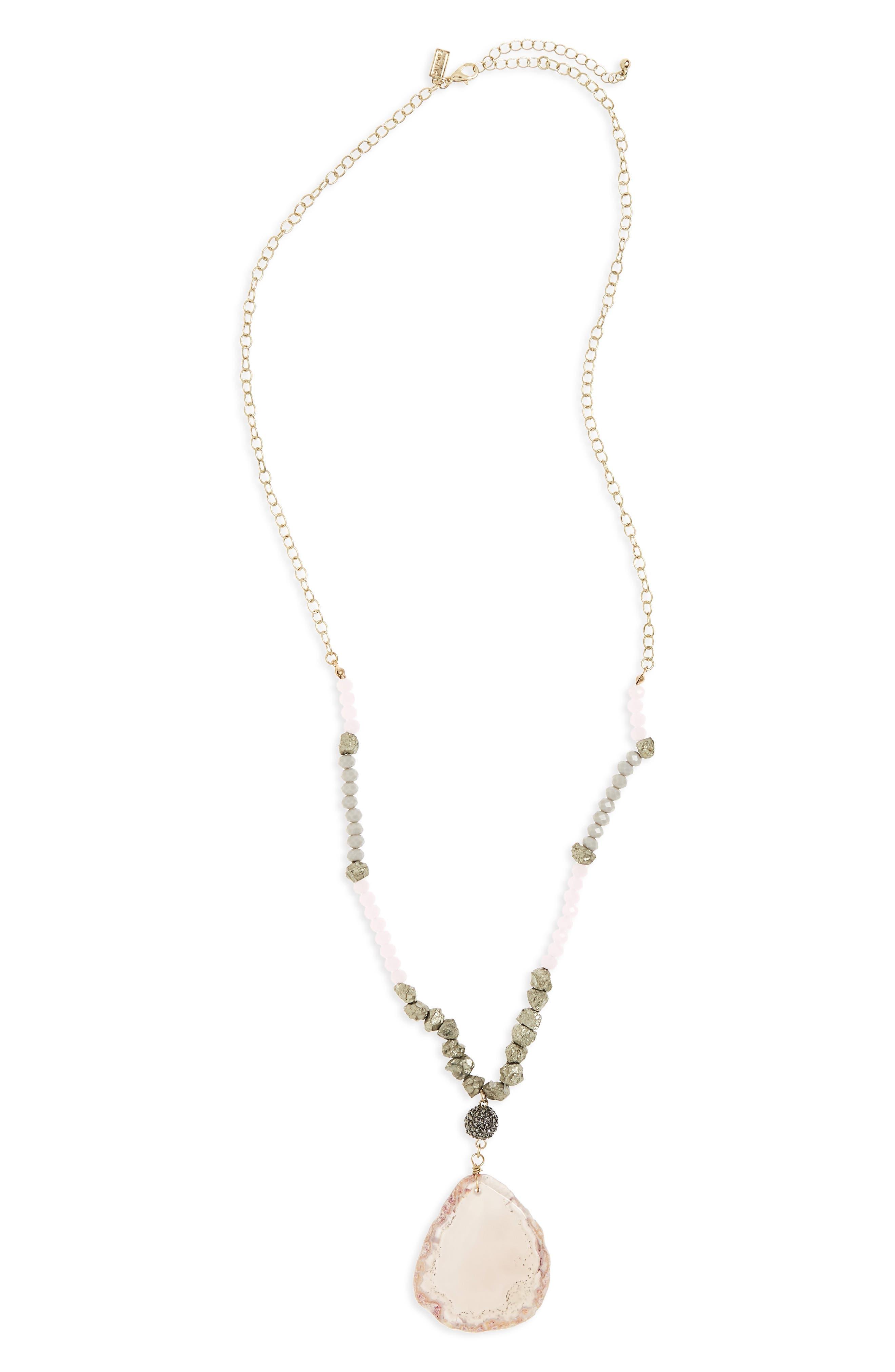 Stone Pendant Necklace,                         Main,                         color,