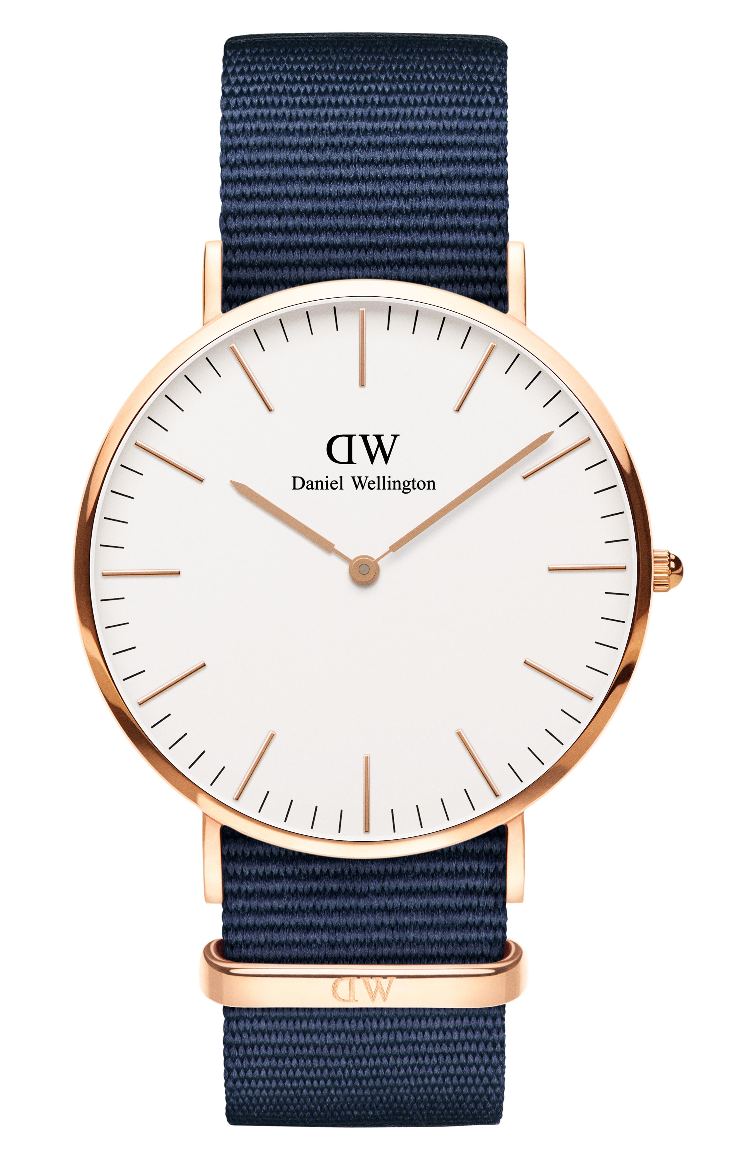 Classic Bayswater Nato Watch, 40Mm in Blue/ White/ Rose Gold