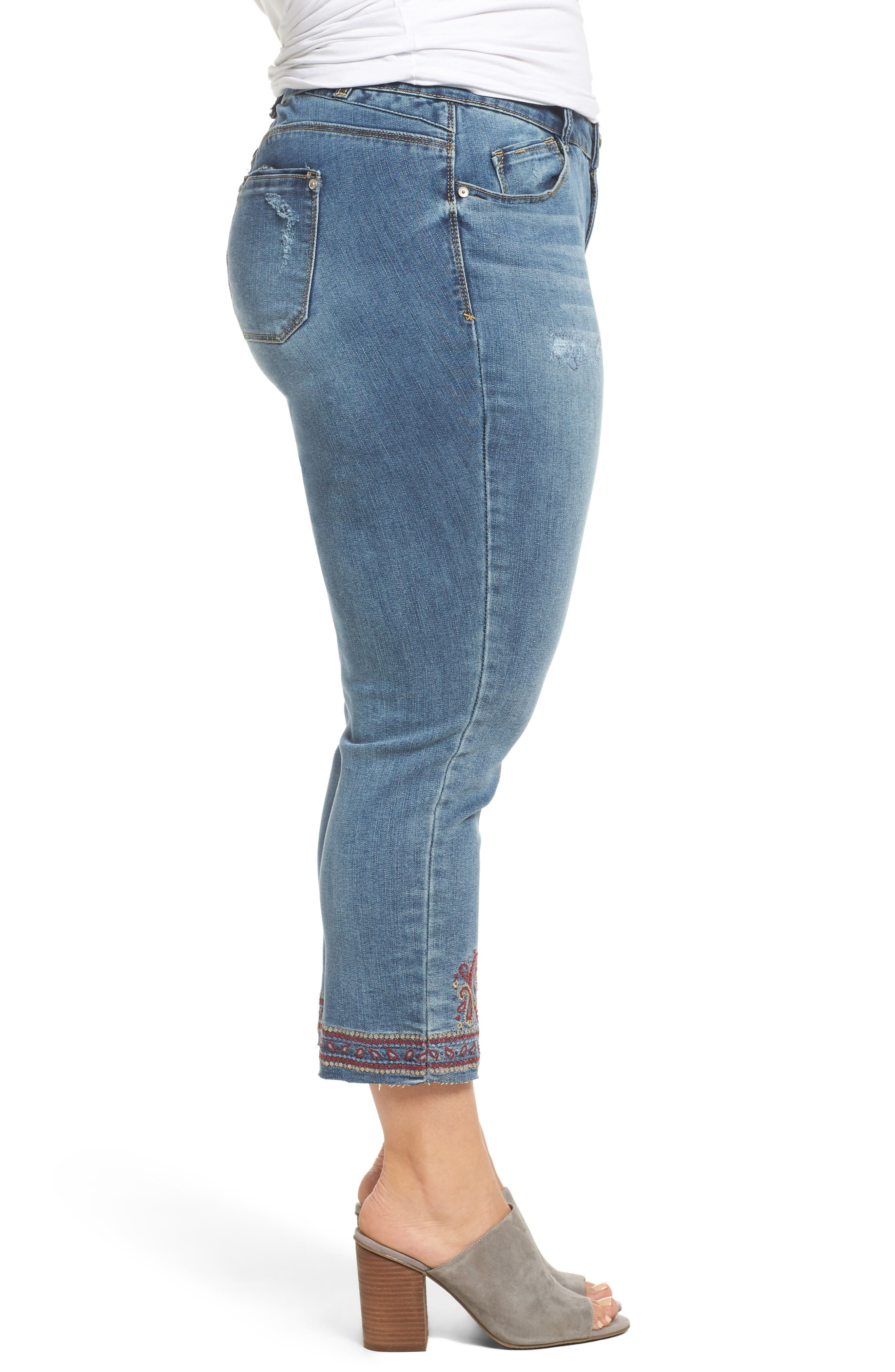 Embroidered Slim Straight Ankle Jeans,                             Alternate thumbnail 3, color,