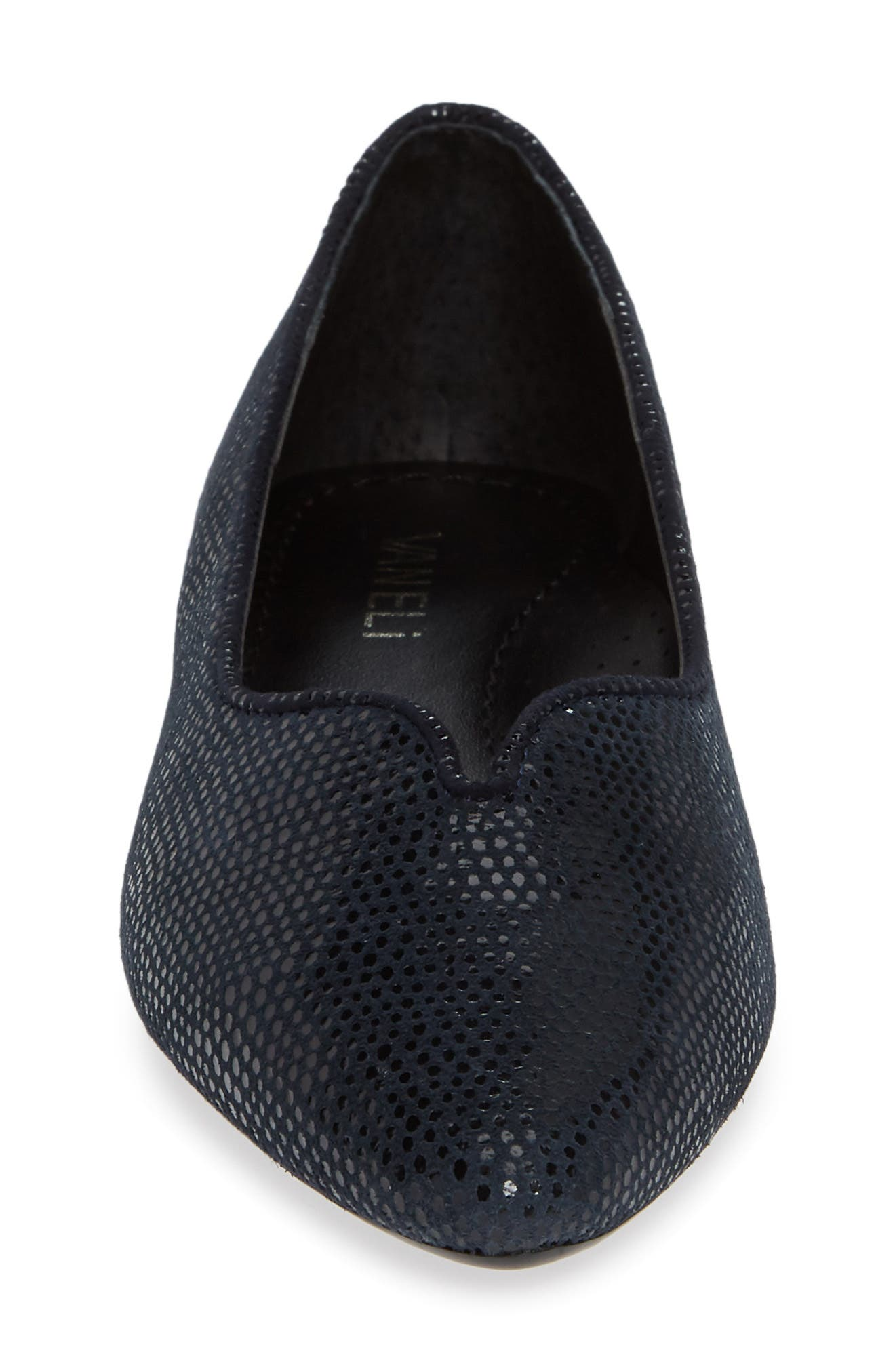 'Ganet' Pointy Toe Flat,                             Alternate thumbnail 4, color,                             NAVY LEATHER