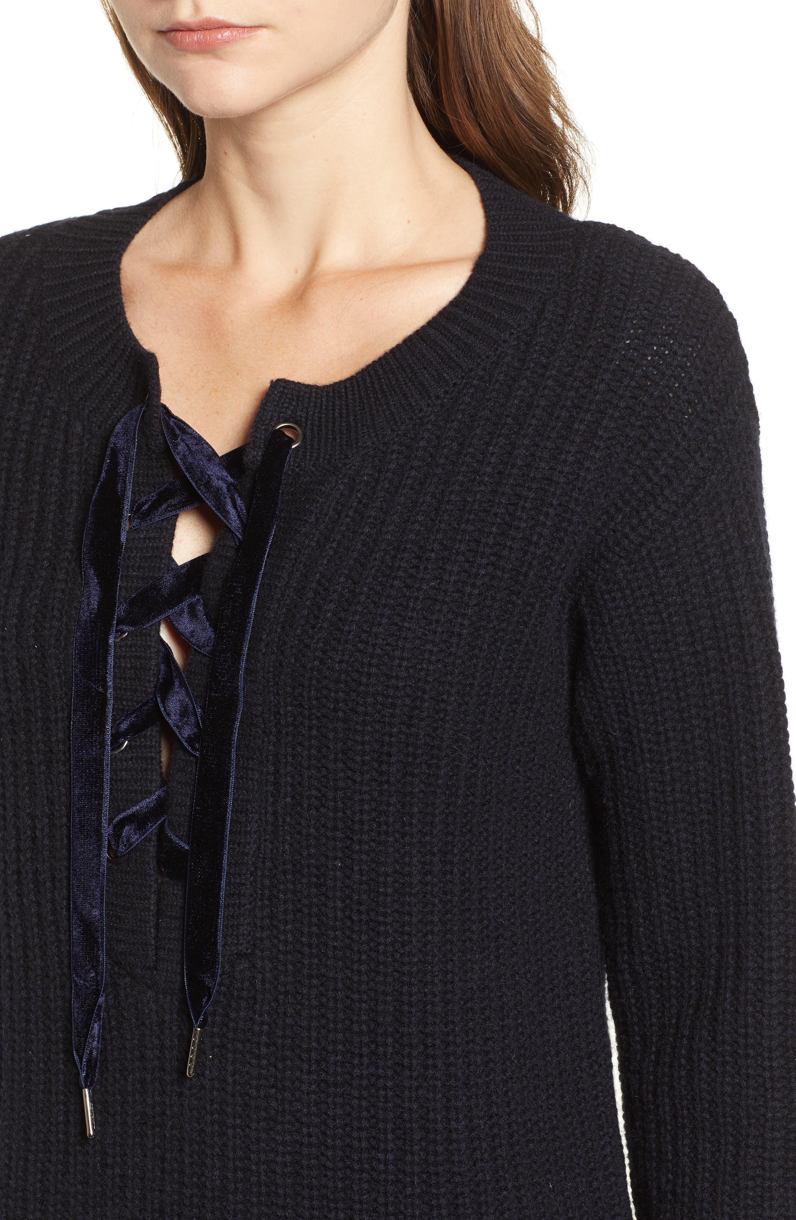 Nicole Velvet Tie Sweater Dress,                             Alternate thumbnail 4, color,                             400