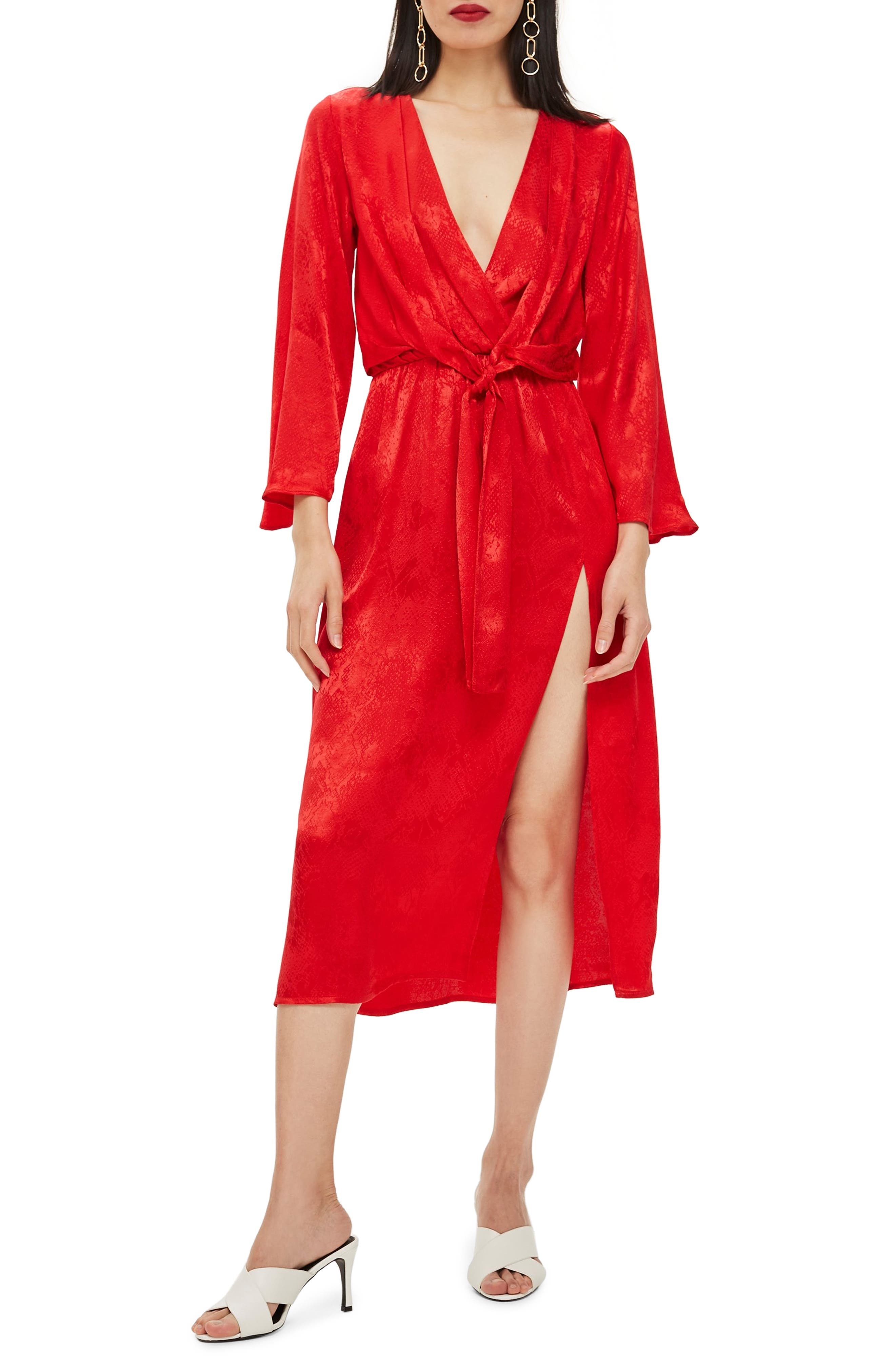 Snake Effect Knot Midi Dress,                         Main,                         color, RED