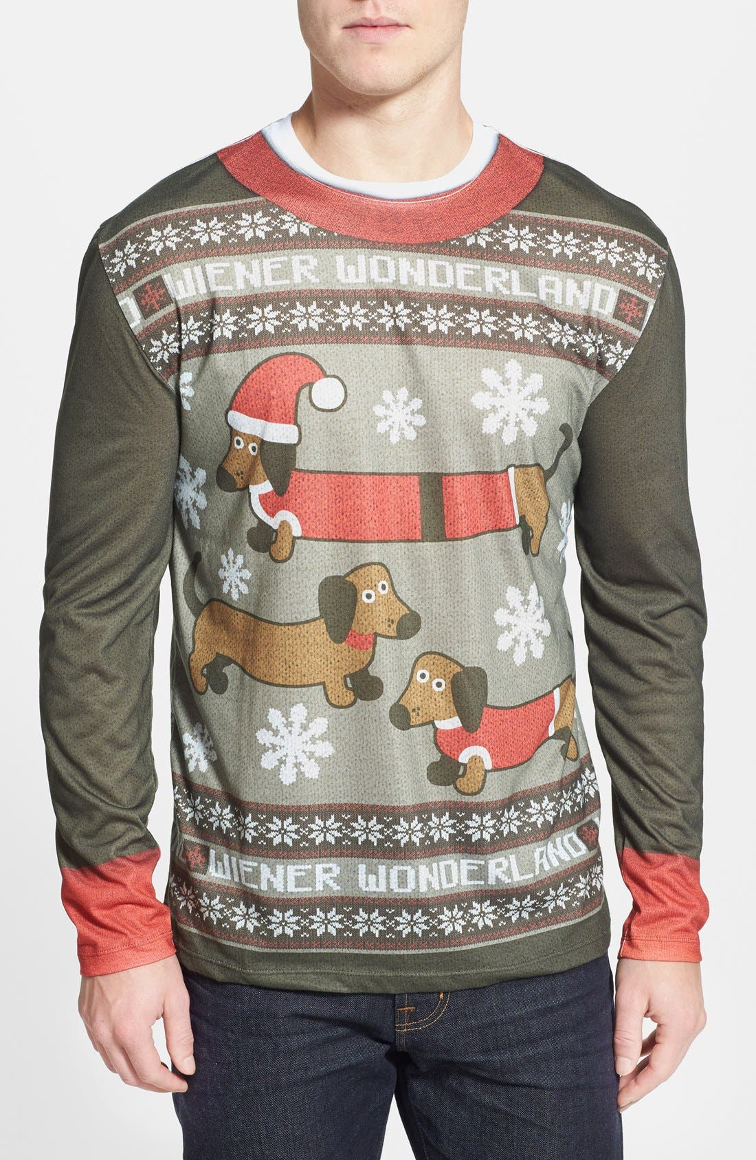 FAUX REAL 'Wiener Wonderland' Ugly Christmas Long Sleeve Novelty T-Shirt, Main, color, 200