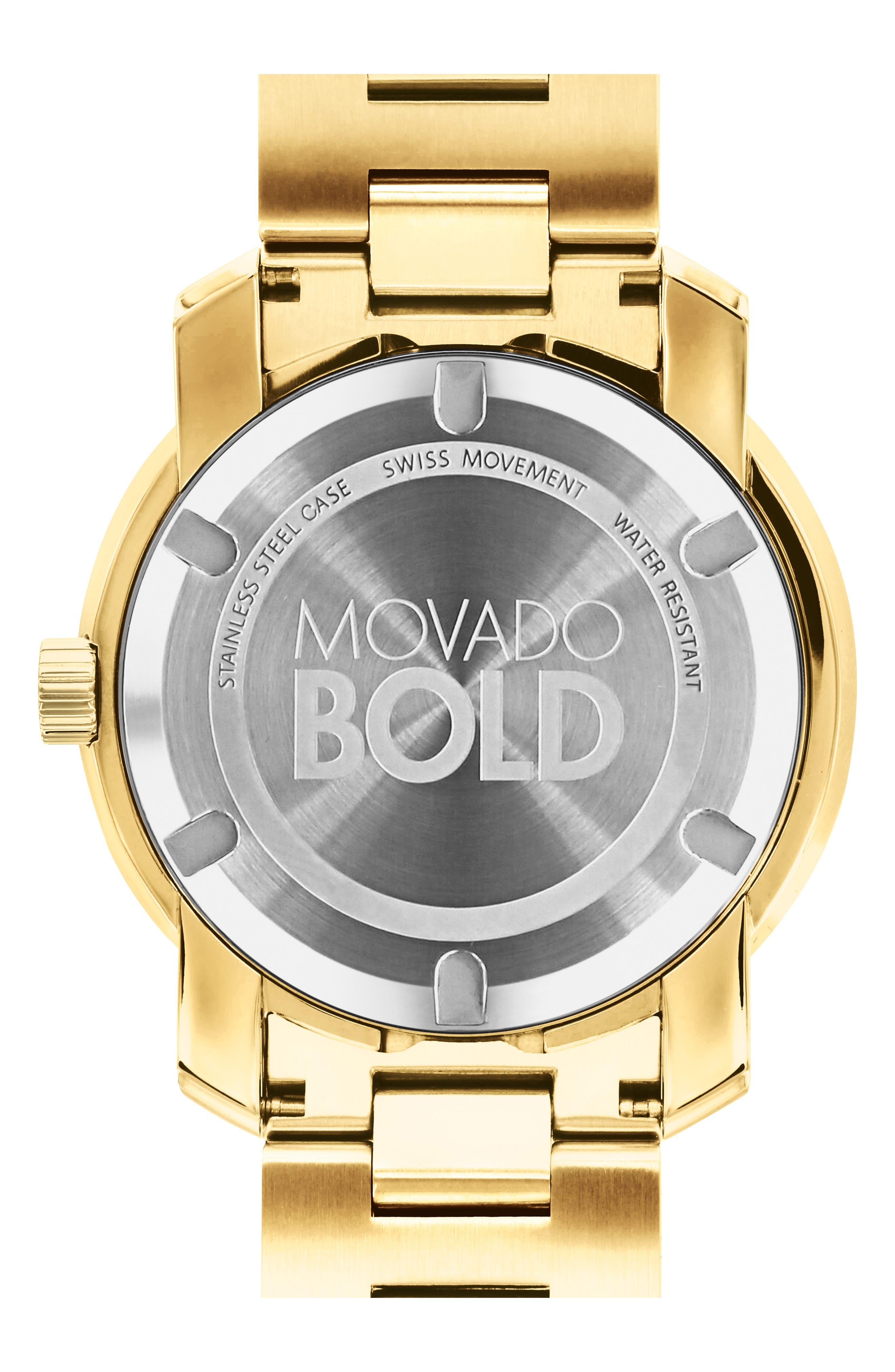 'Bold' Bracelet Watch, 43mm,                             Alternate thumbnail 2, color,                             GOLD/ GREEN/ GOLD