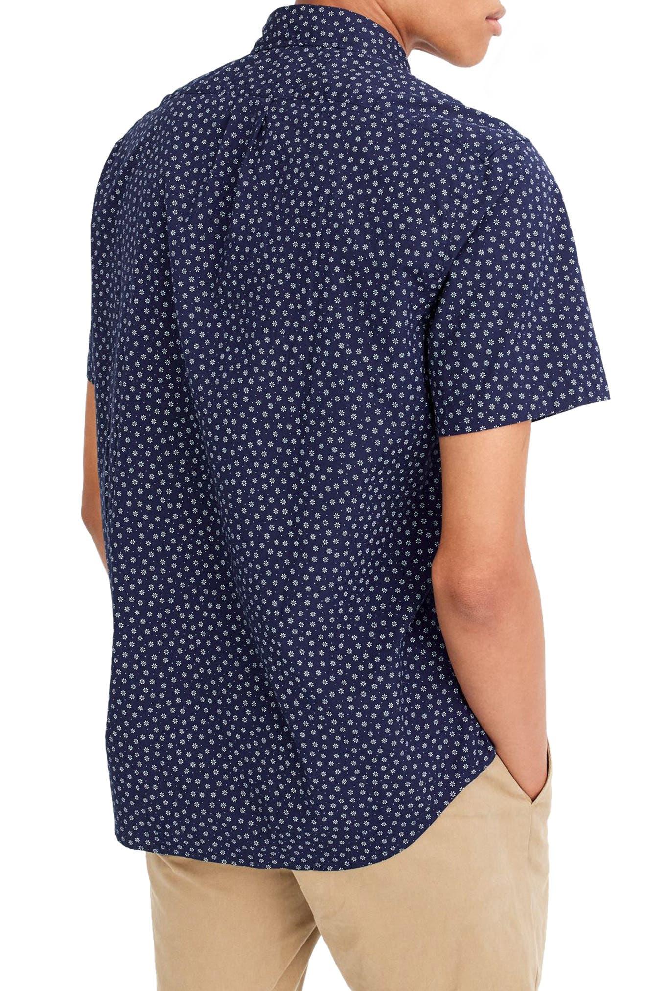 Slim Fit Stretch Secret Wash Short Sleeve Daisy Print Sport Shirt,                             Alternate thumbnail 2, color,                             400