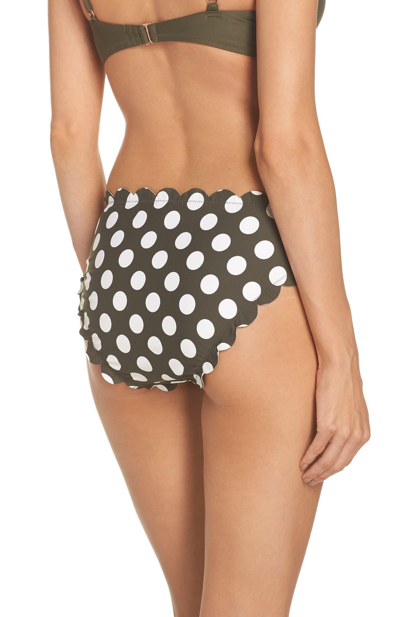 Scallop Hipster Bikini Bottoms,                             Alternate thumbnail 2, color,                             OLIVE SARMA/ IVORY EGRET DOT