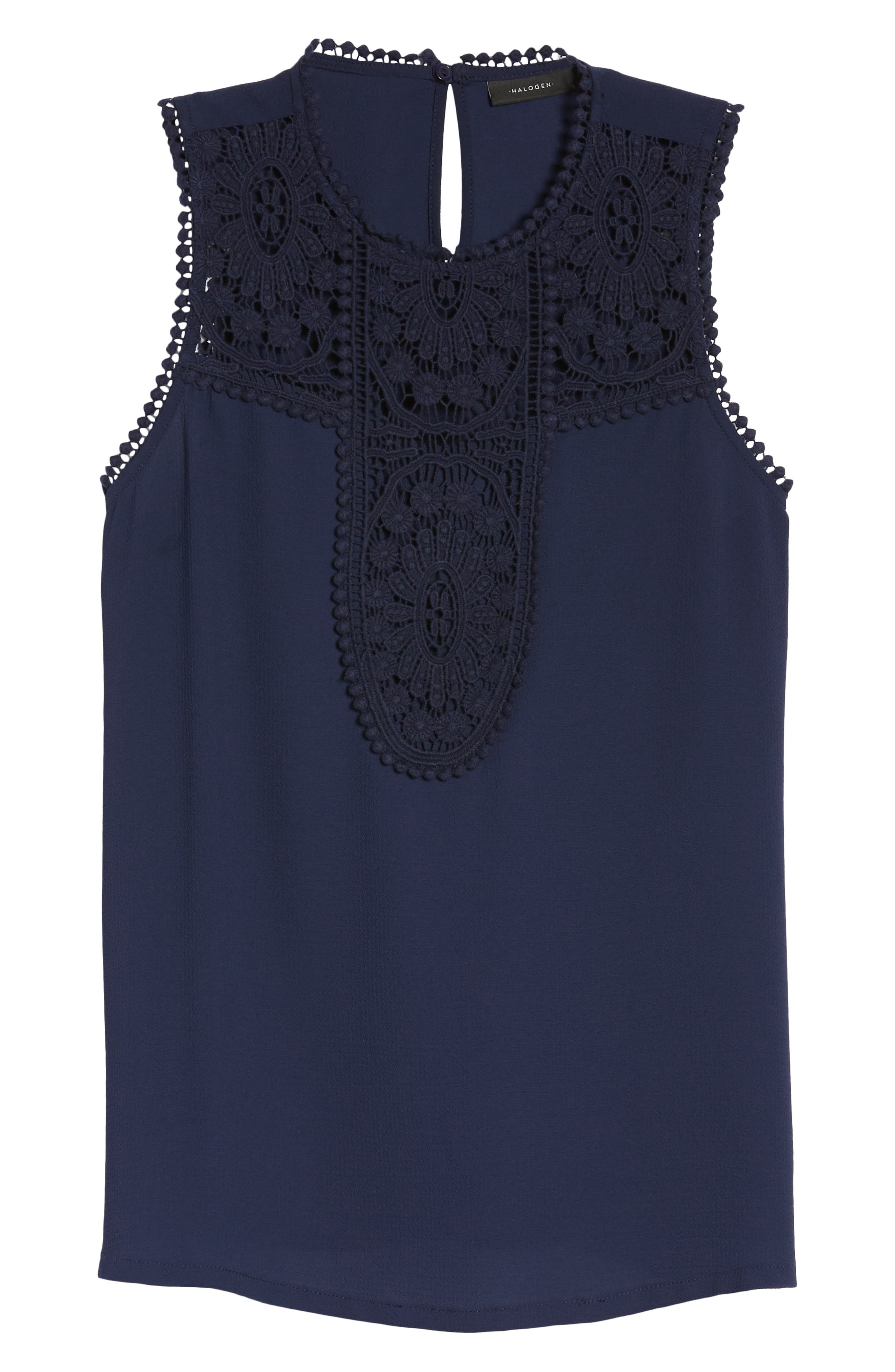 Lace & Crepe Top,                             Alternate thumbnail 7, color,                             NAVY PEACOAT