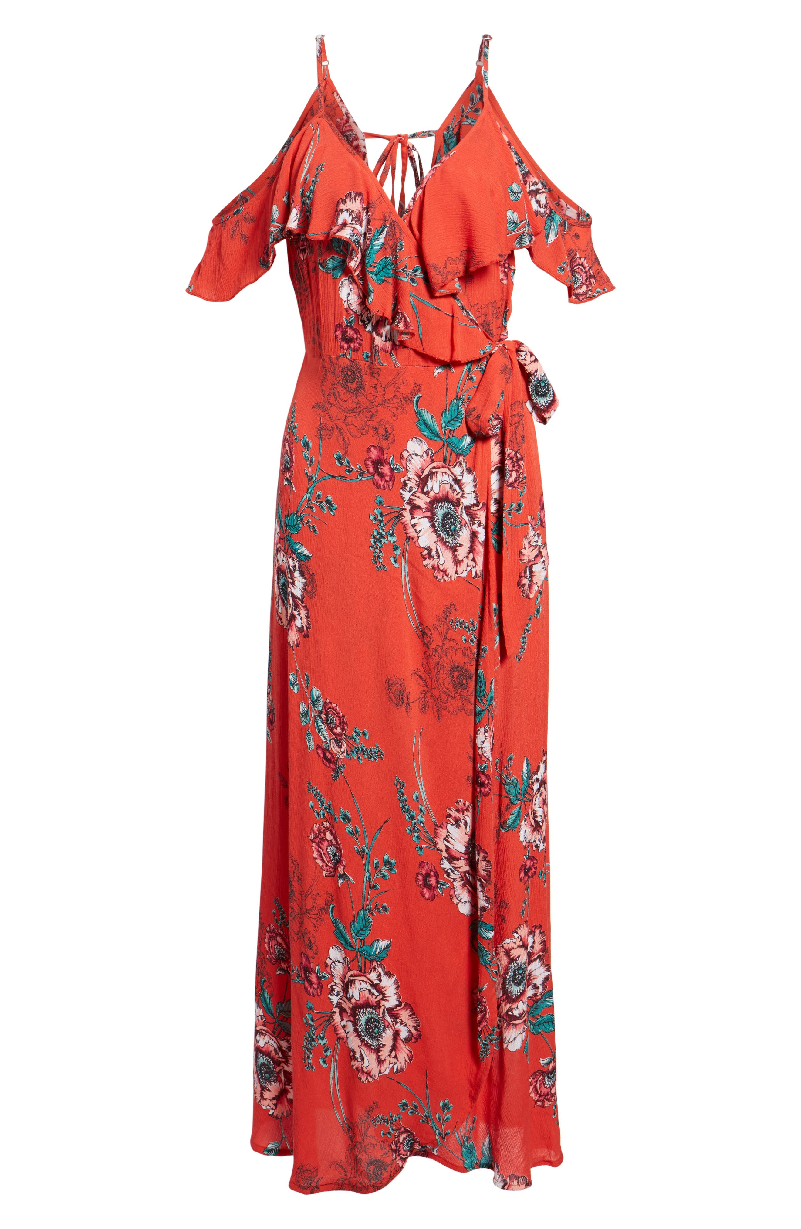 Foulard Cold Shoulder Dress,                             Alternate thumbnail 6, color,                             600