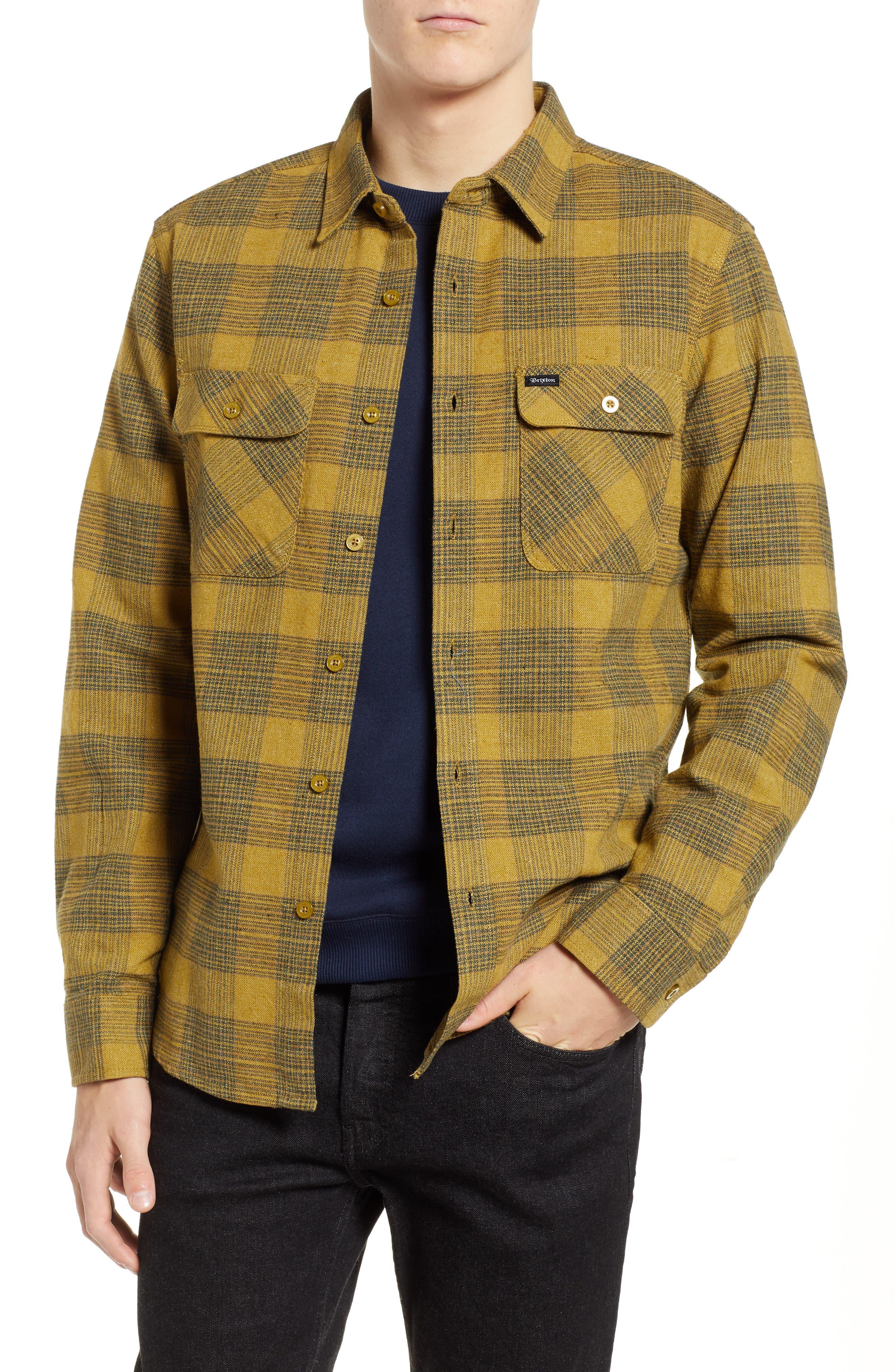 Bowery Flannel Shirt,                         Main,                         color, AVOCADO