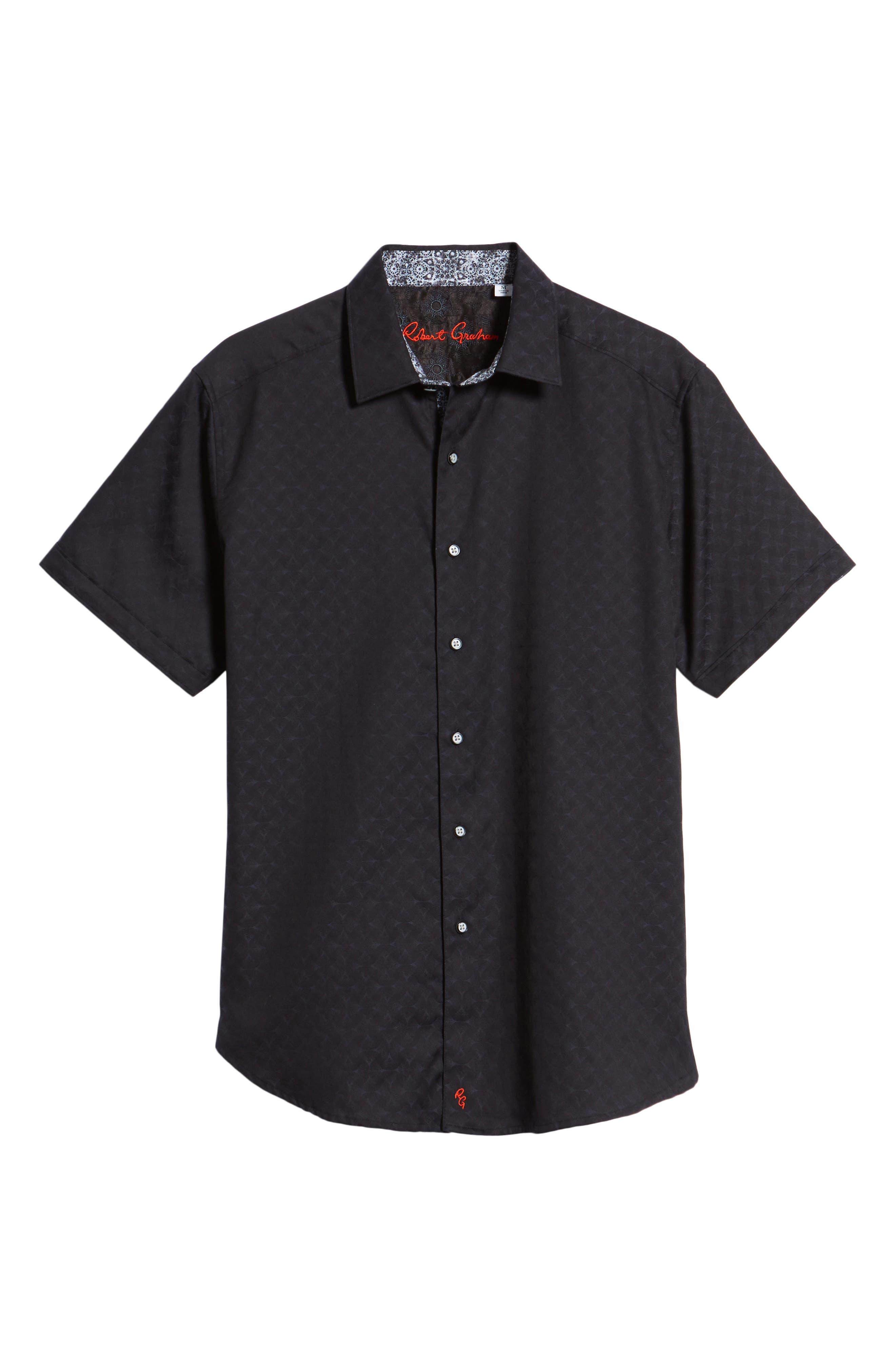 Diamante Classic Fit Sport Shirt,                             Alternate thumbnail 6, color,                             BLACK