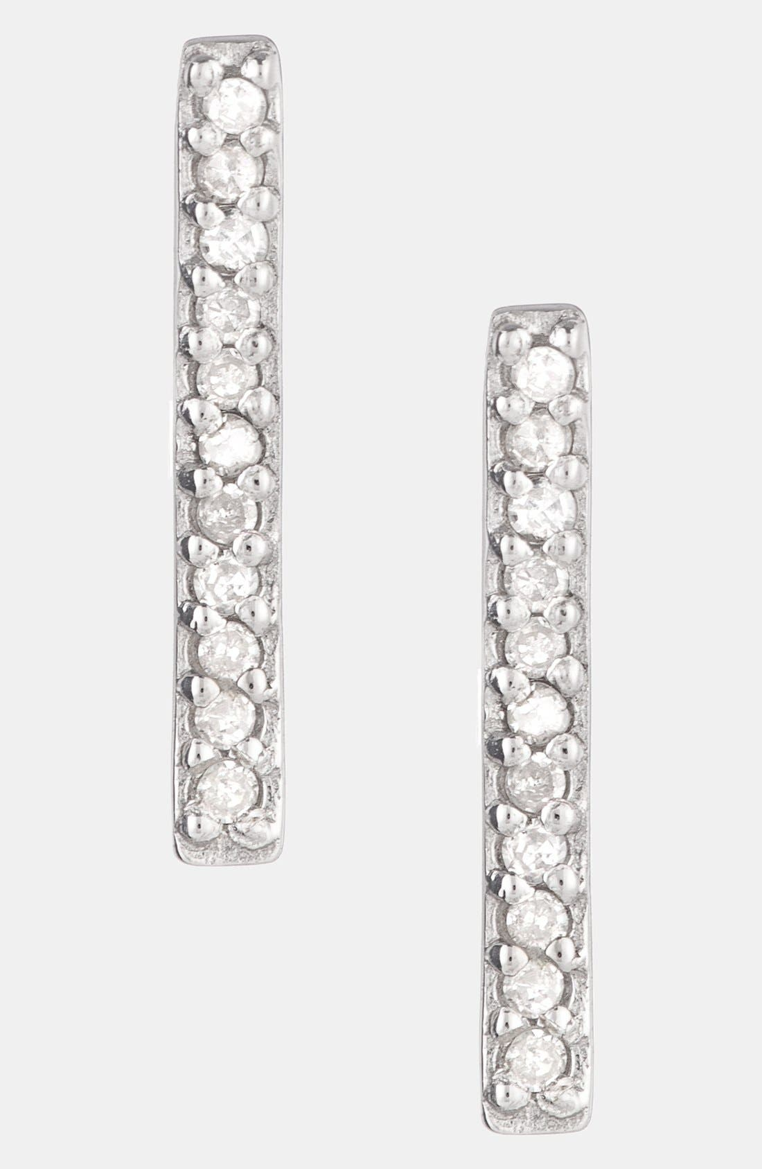 ADINA REYTER,                             Pavé Diamond Bar Stud Earrings,                             Main thumbnail 1, color,                             040
