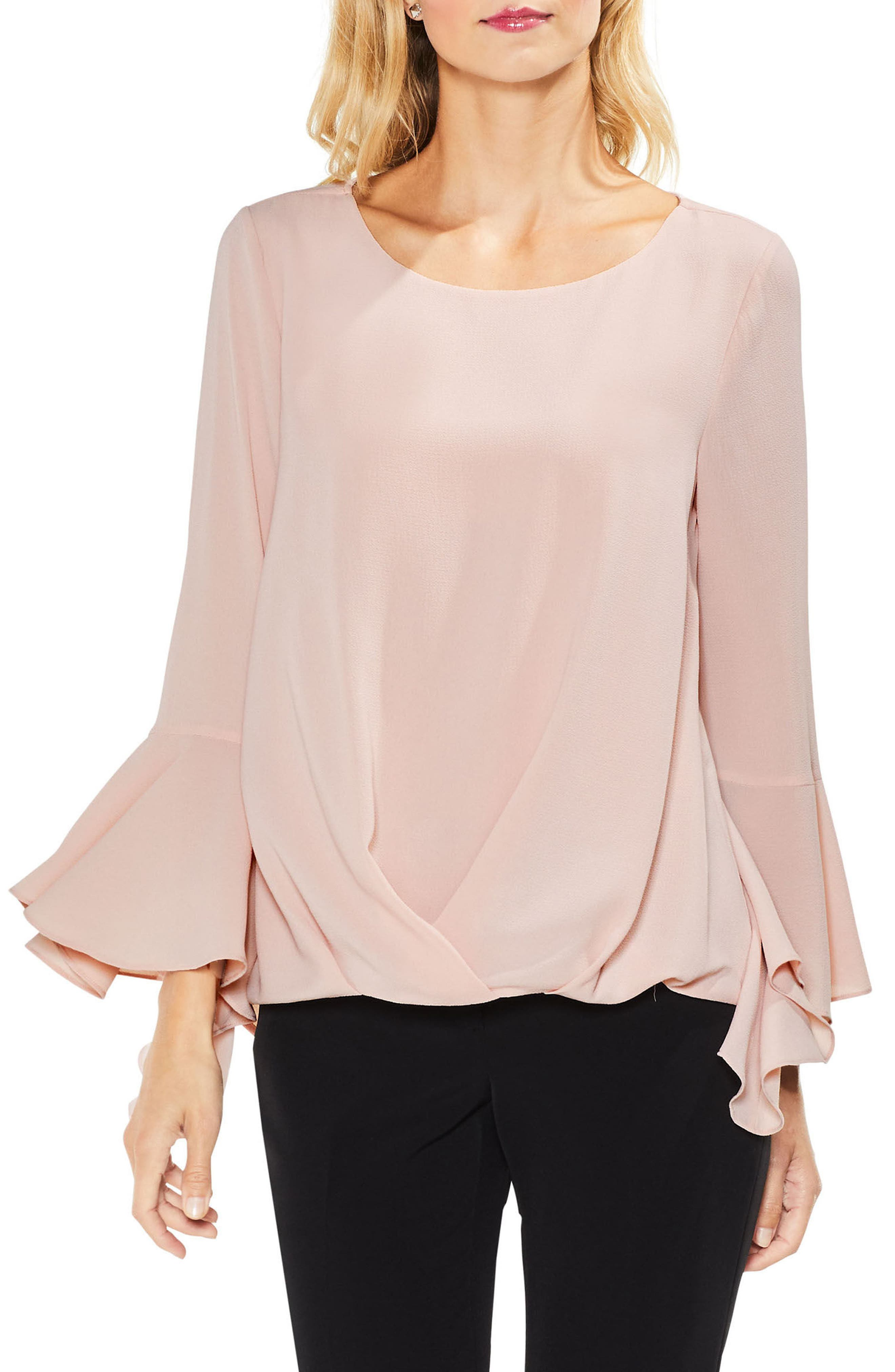 Bell Cuff Foldover Blouse,                             Main thumbnail 2, color,