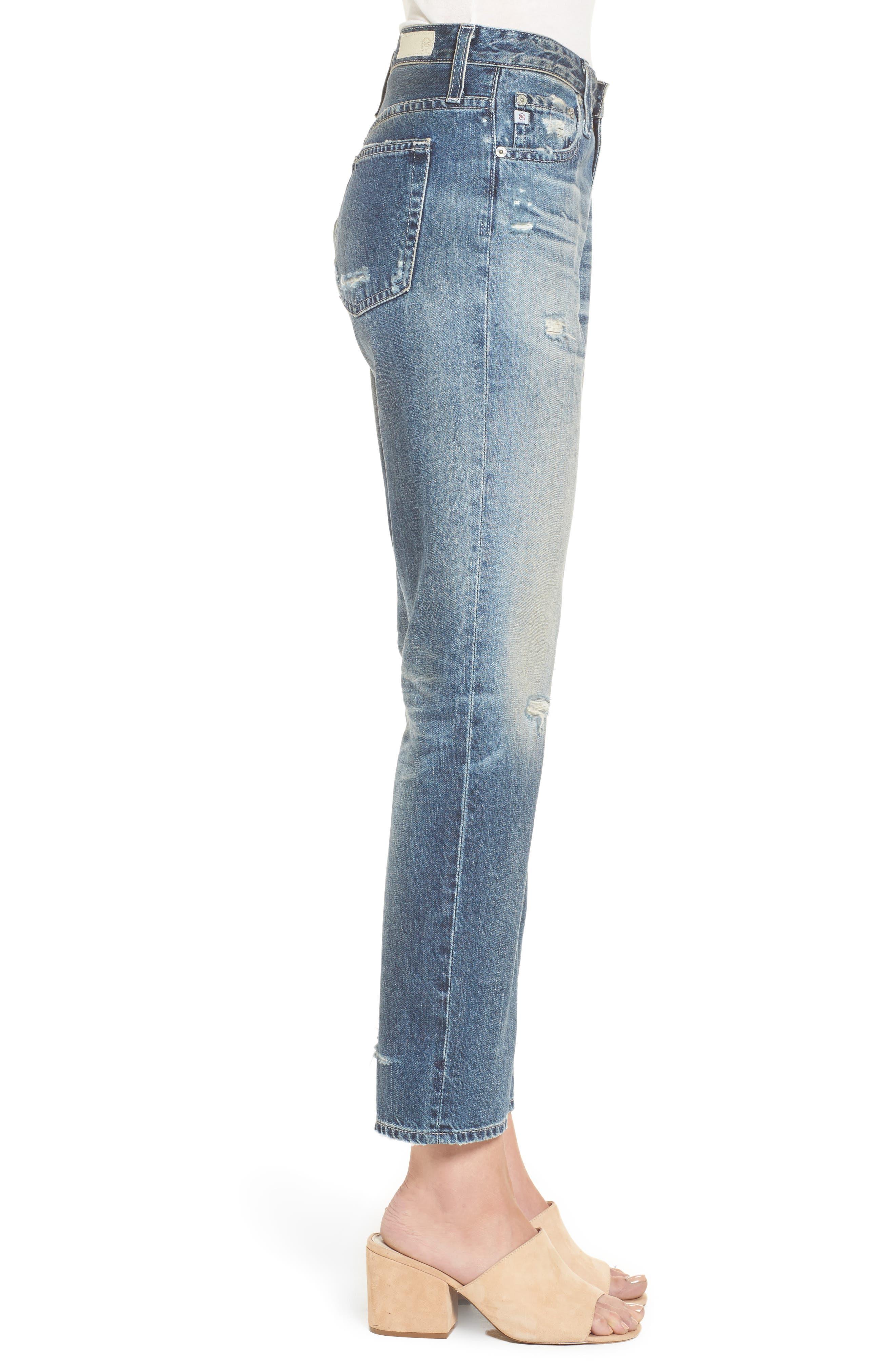 Isabelle High Waist Straight Leg Crop Jeans,                             Alternate thumbnail 7, color,