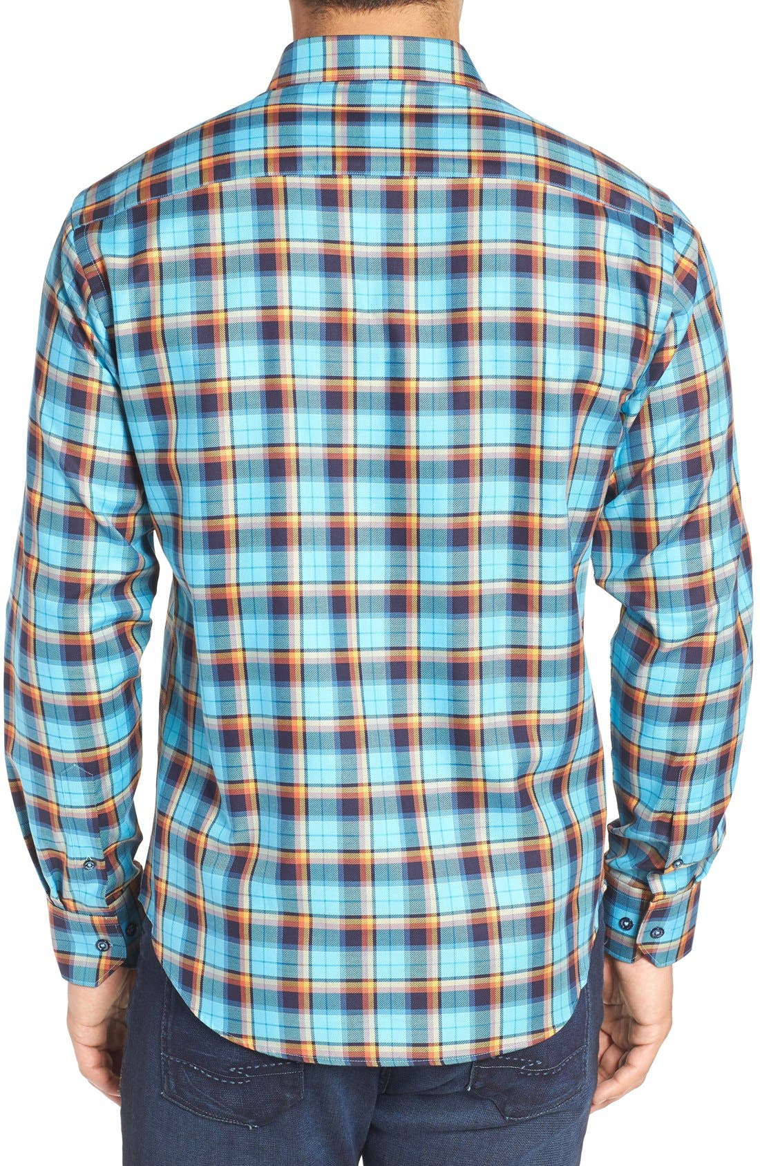 Shaped Fit Plaid Sport Shirt,                             Alternate thumbnail 2, color,                             425