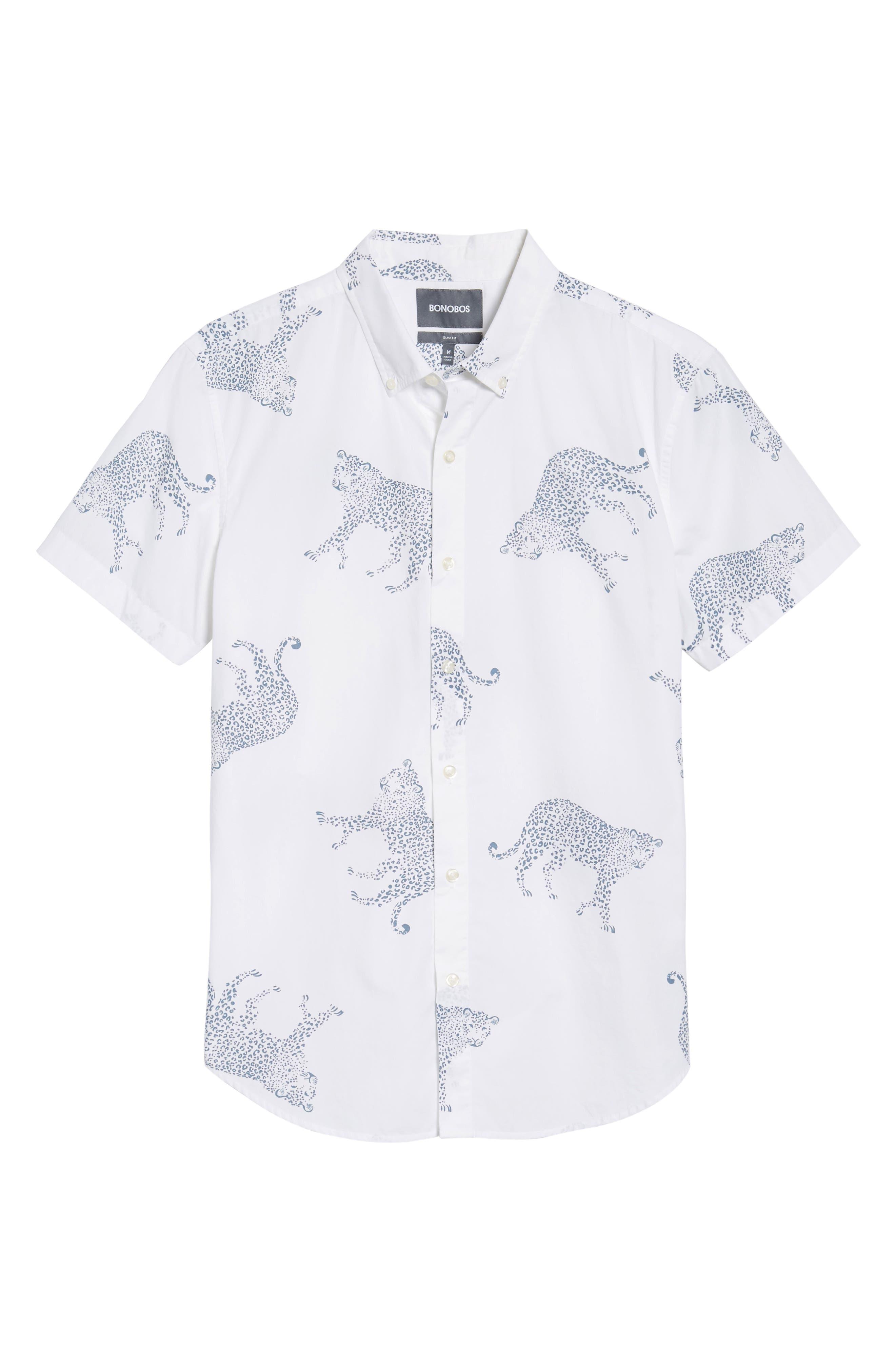 Slim Fit Cheetah Print Sport Shirt,                             Alternate thumbnail 6, color,