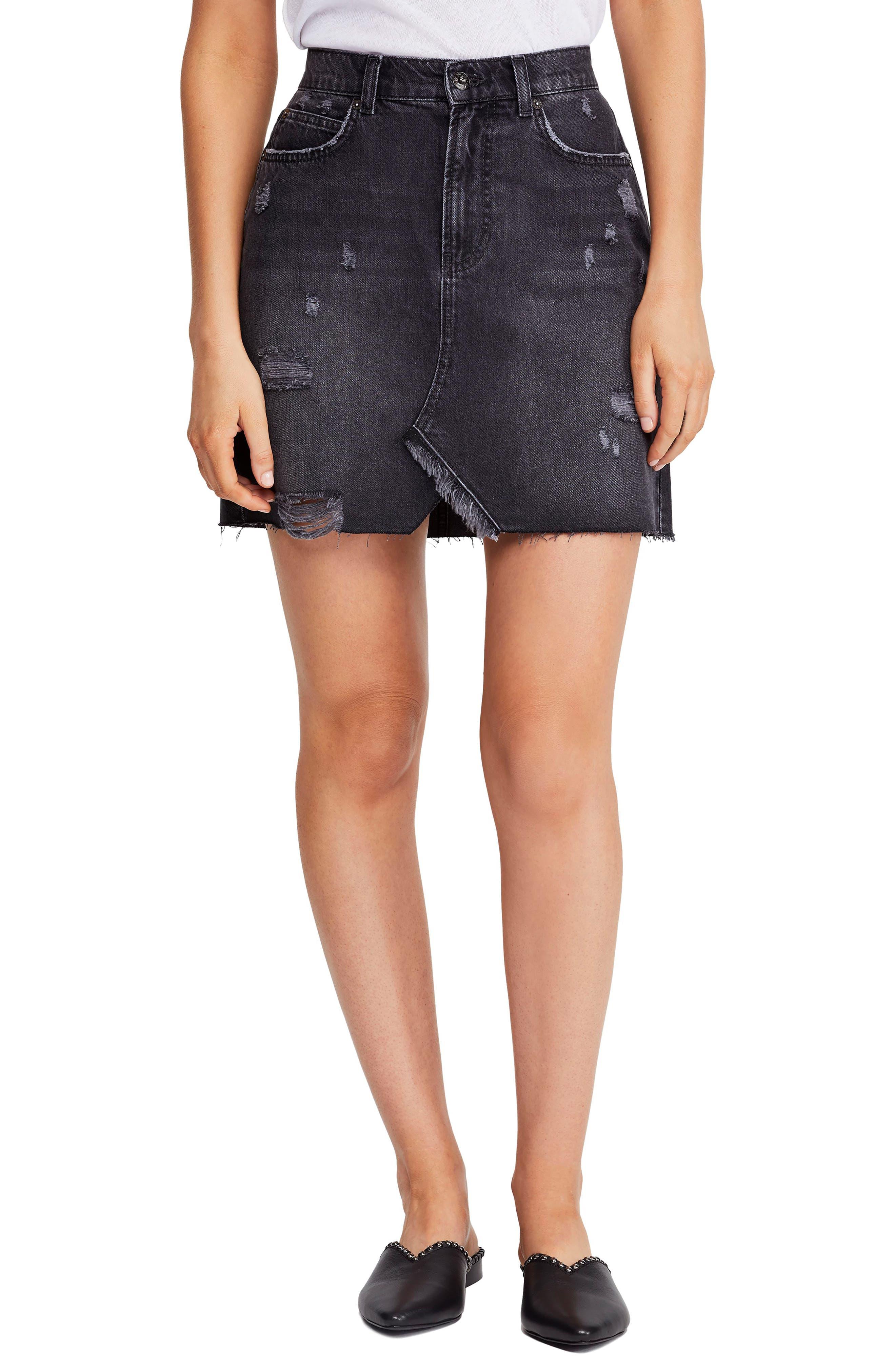 Free People Hallie Denim Miniskirt, Black