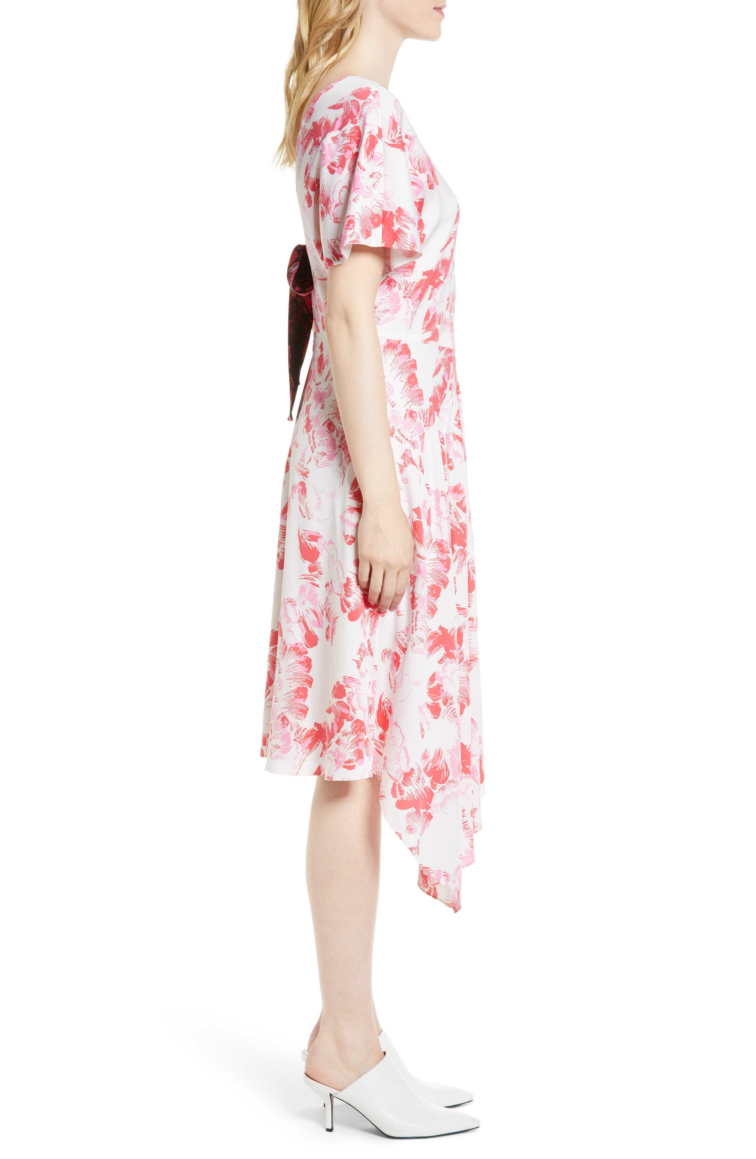 Double Print Floral Stretch Silk Dress,                             Alternate thumbnail 3, color,