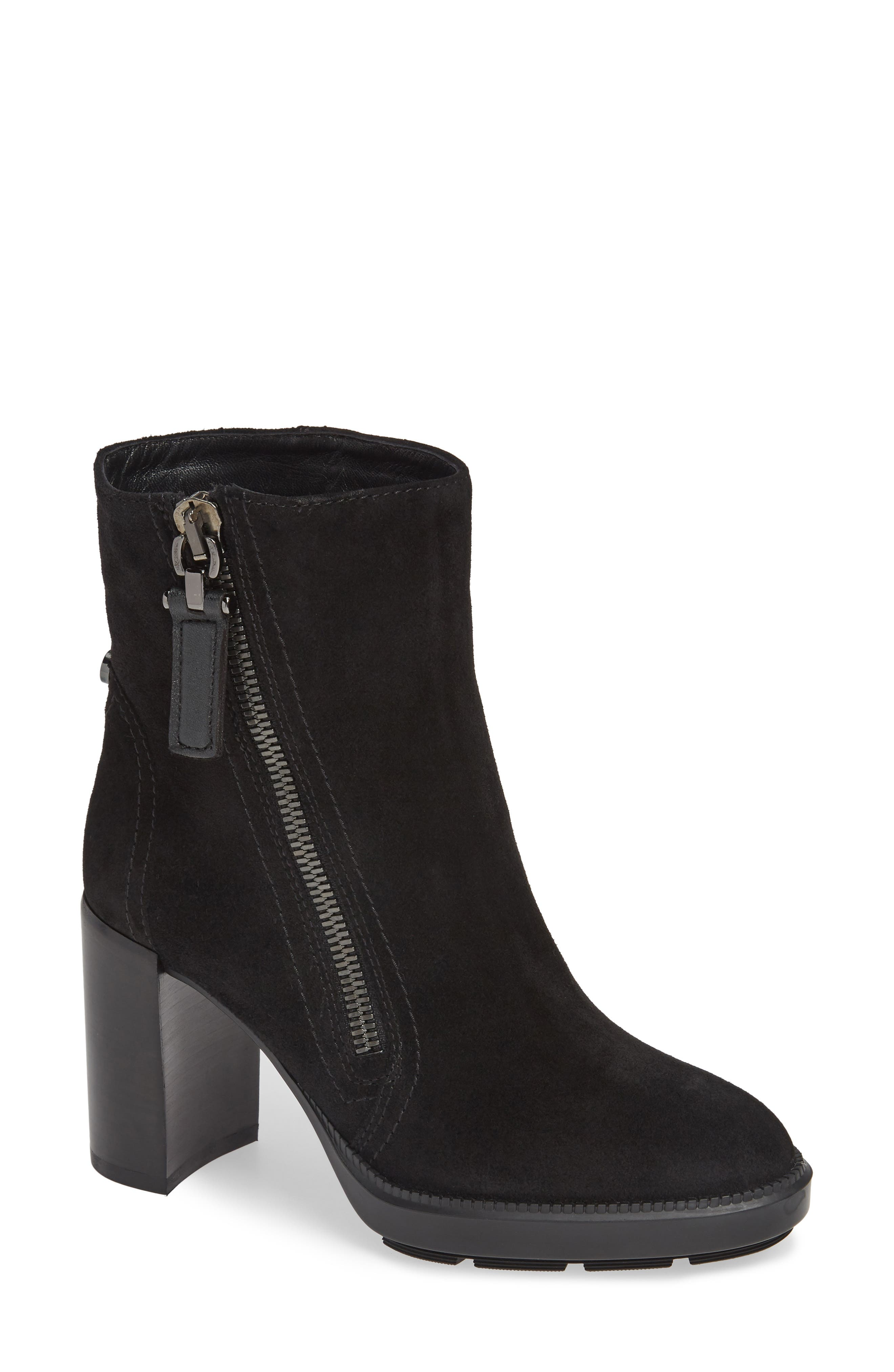 AQUATALIA Ilenia Weatherproof Suede Platform Booties in Black Metallic Suede