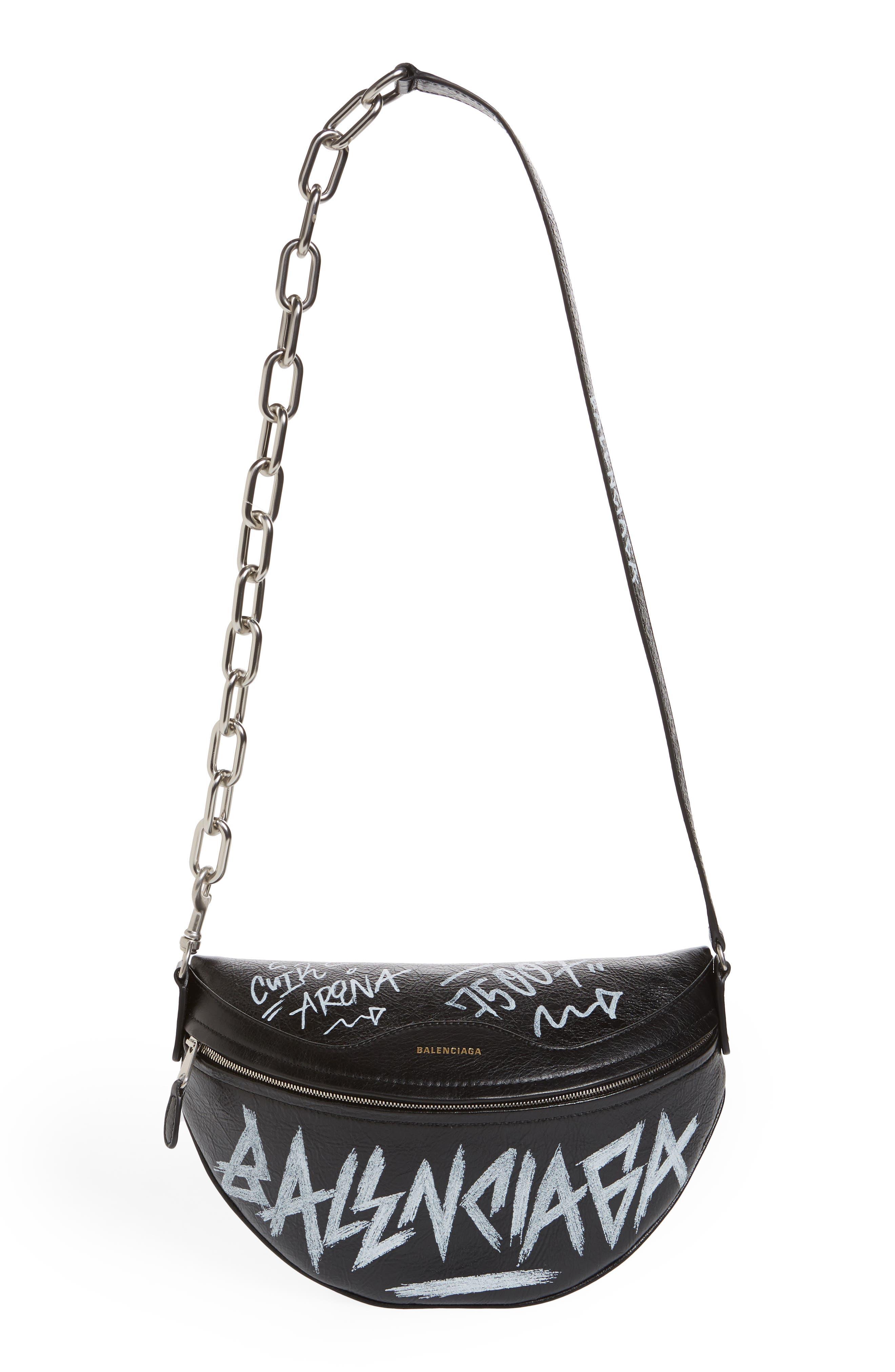 Graffiti Souvenir Leather Belt Bag,                         Main,                         color, NOIR/ BLANC