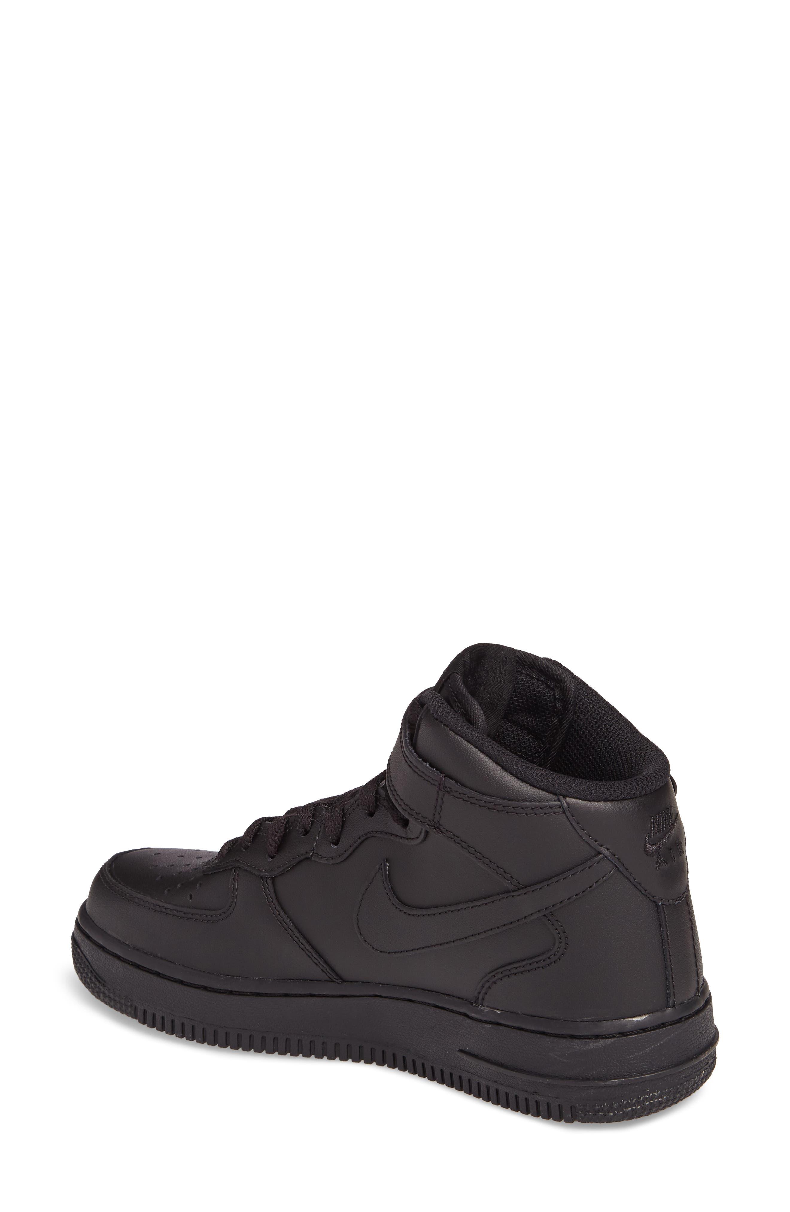 Air Force 1 '07 Mid Sneaker,                             Alternate thumbnail 2, color,                             BLACK/ BLACK