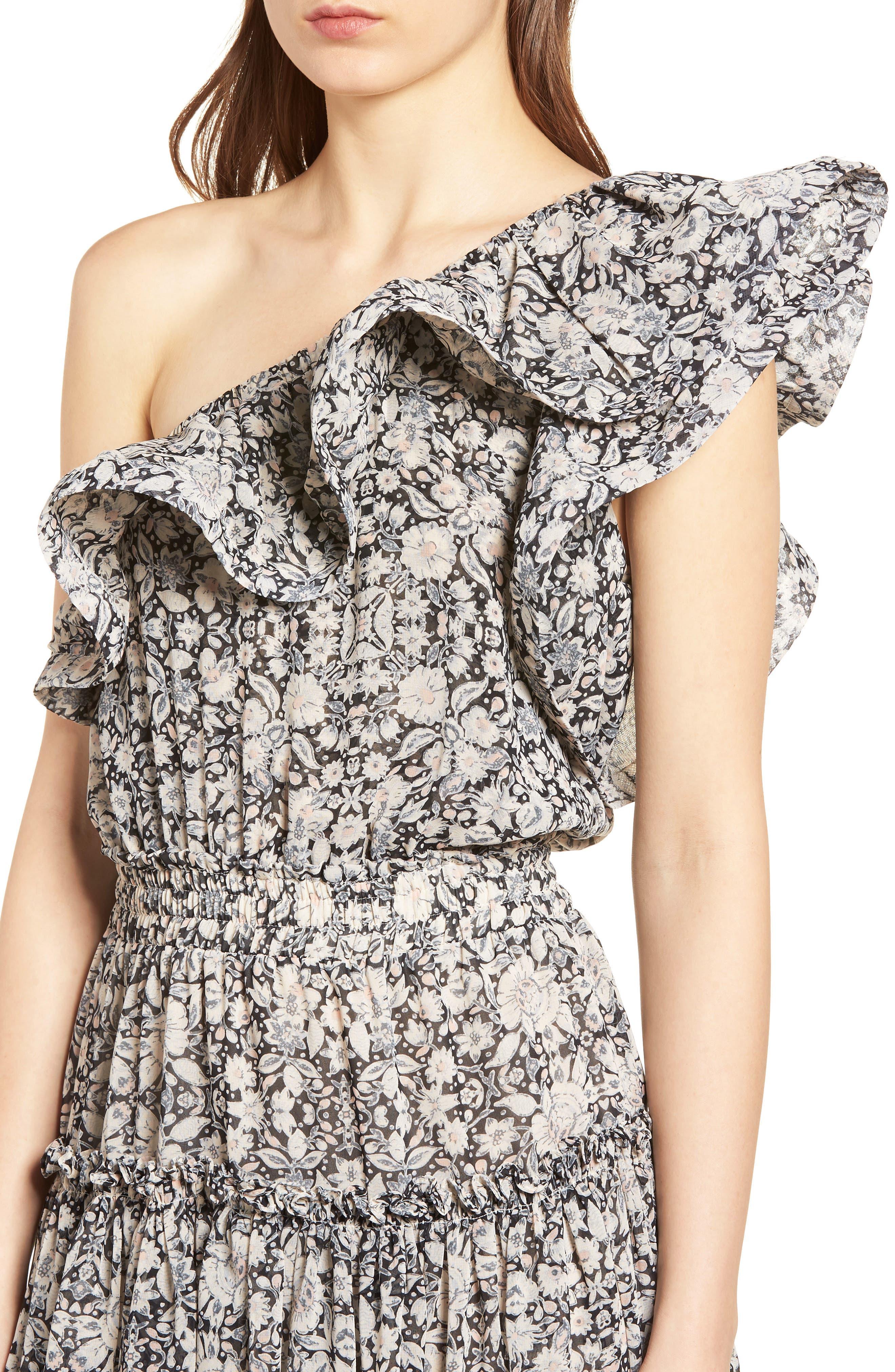 Josefine Ruffle One-Shoulder Dress,                             Alternate thumbnail 4, color,                             MULTI FE8