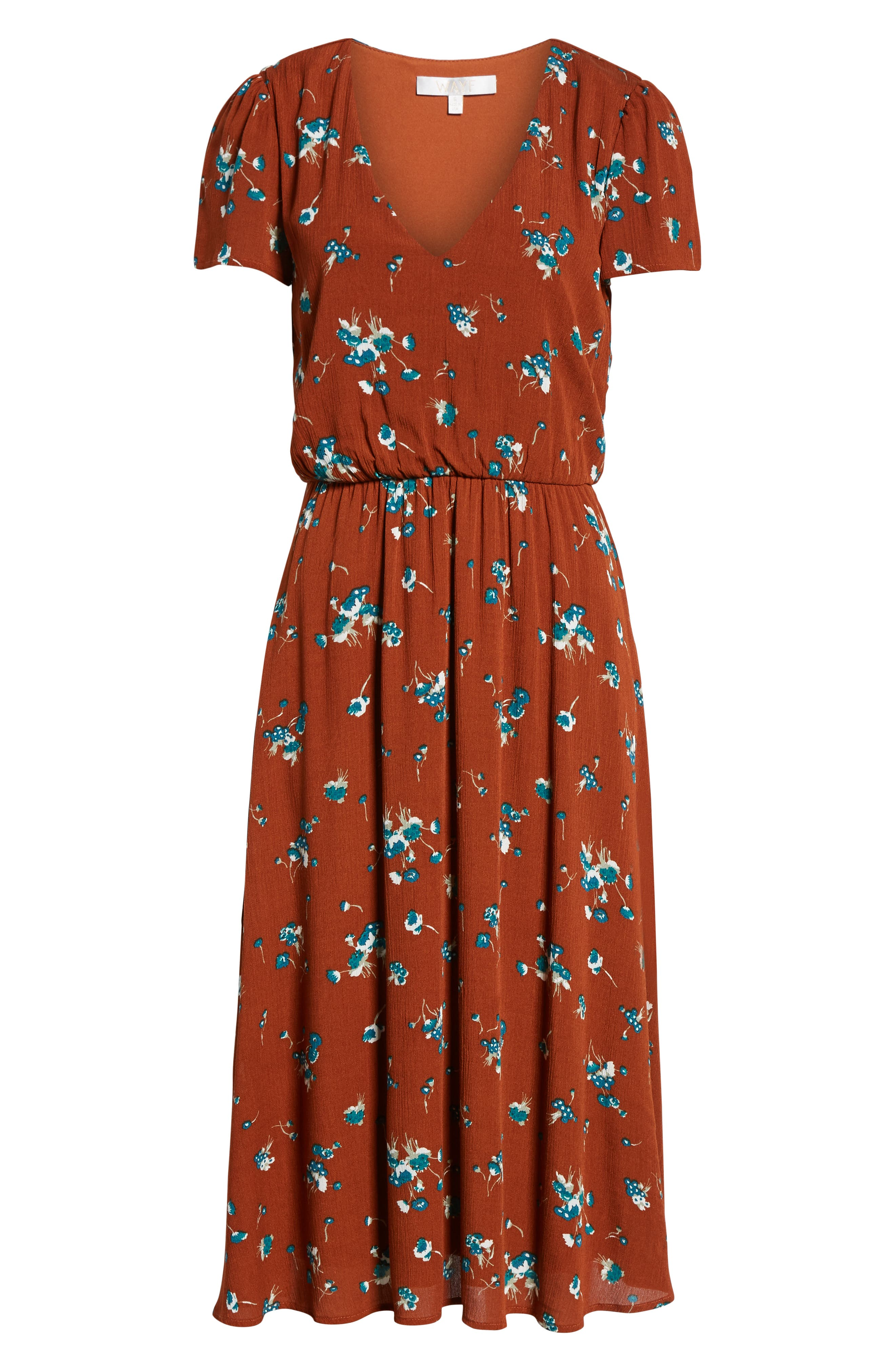 Blouson Midi Dress,                             Alternate thumbnail 7, color,                             BROWN SPICE FLORAL