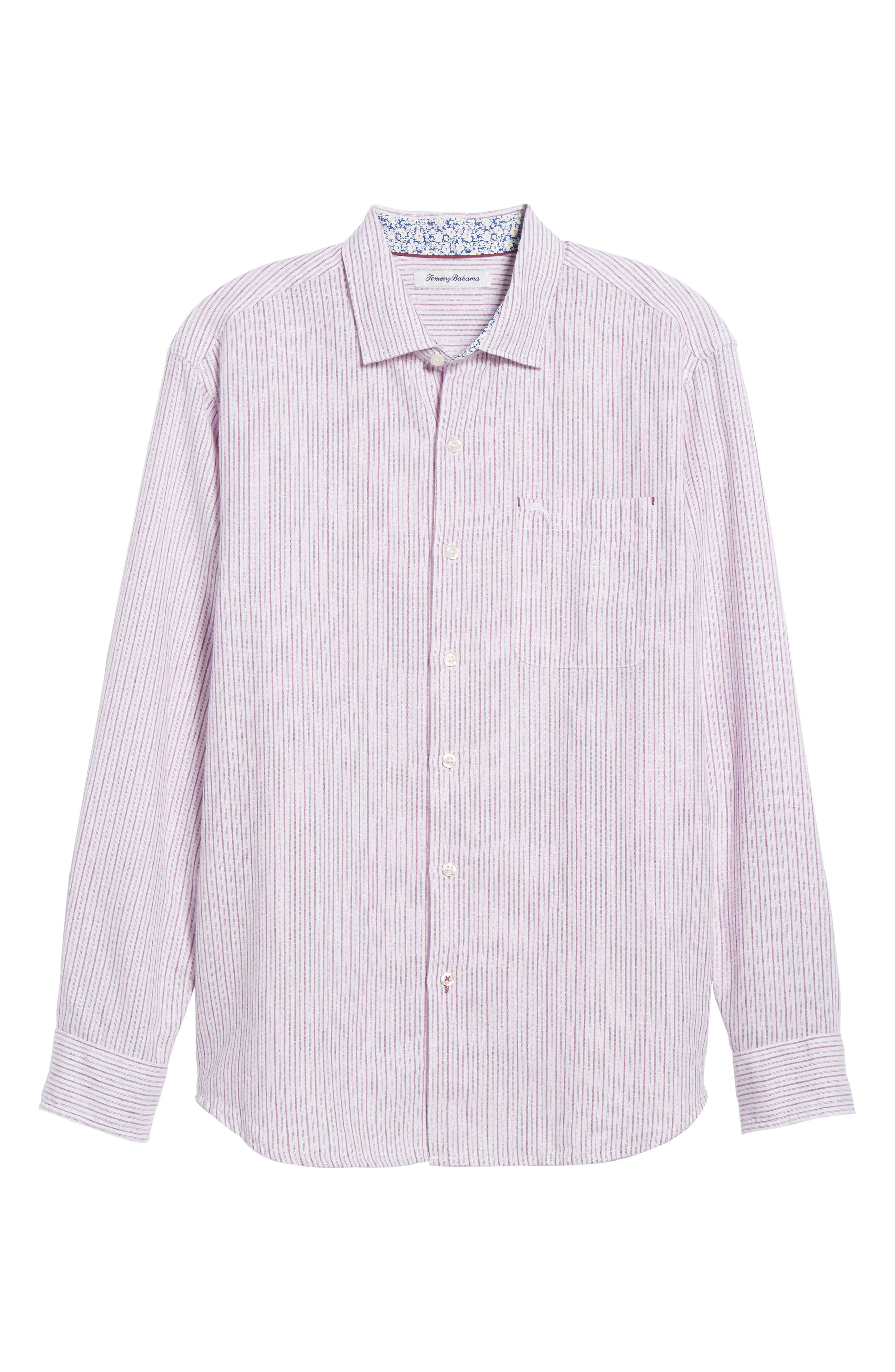 Bungalow Stripe Regular Fit Linen Blend Sport Shirt,                             Alternate thumbnail 18, color,