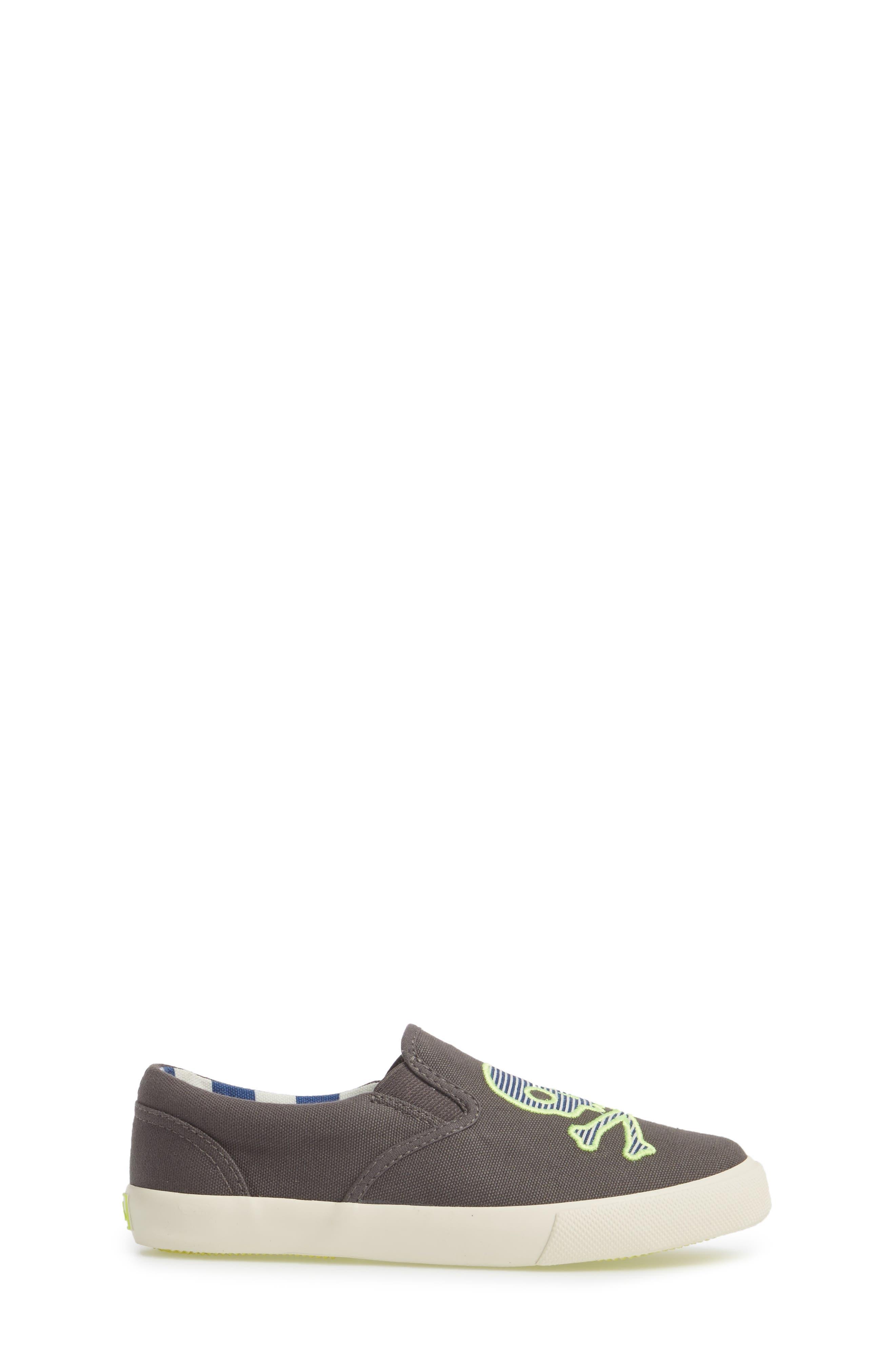 Embroidered Slip-On Sneaker,                             Alternate thumbnail 3, color,                             SHARK GREY