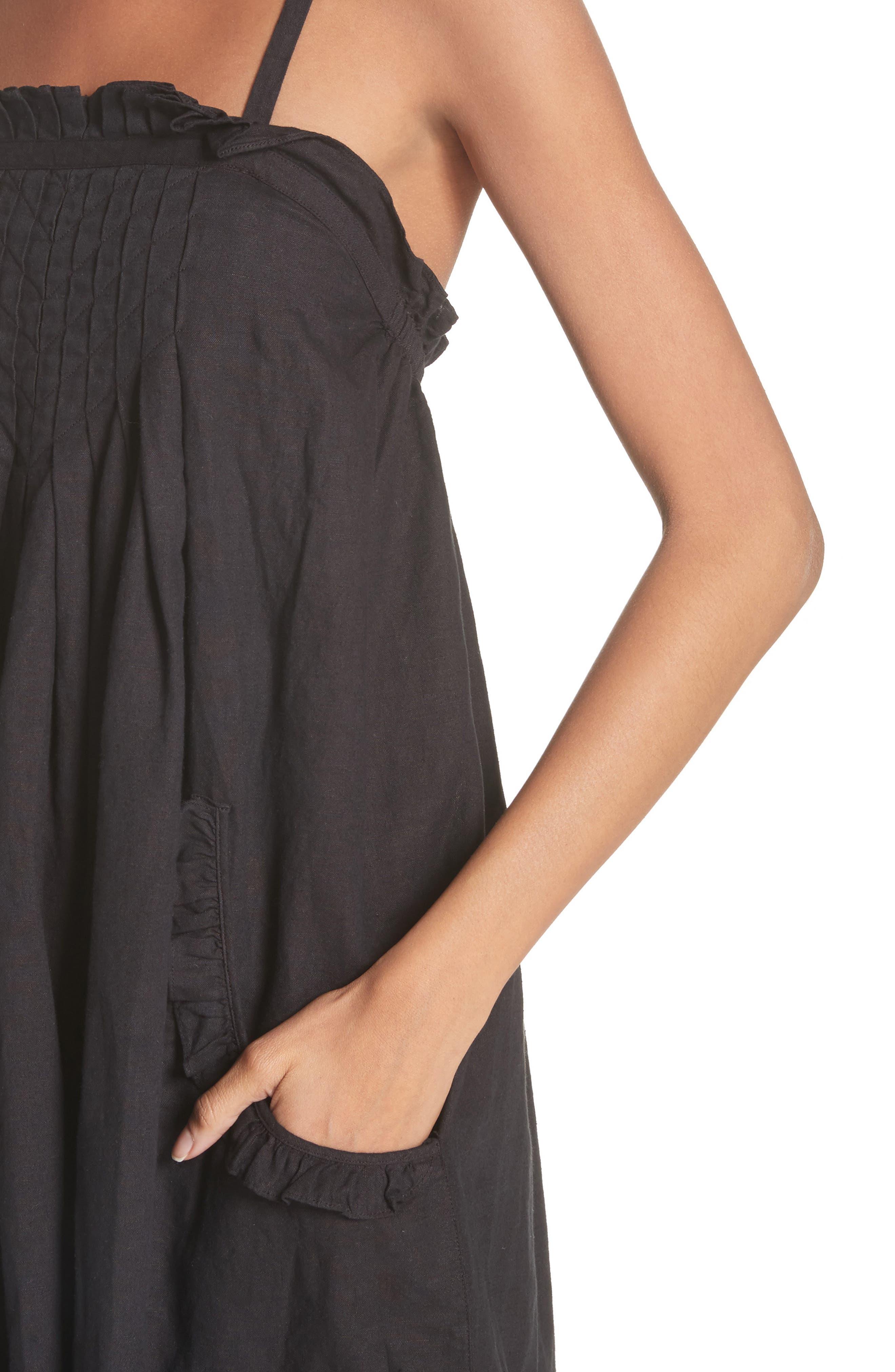 The Tulip Linen & Cotton Dress,                             Alternate thumbnail 4, color,                             001