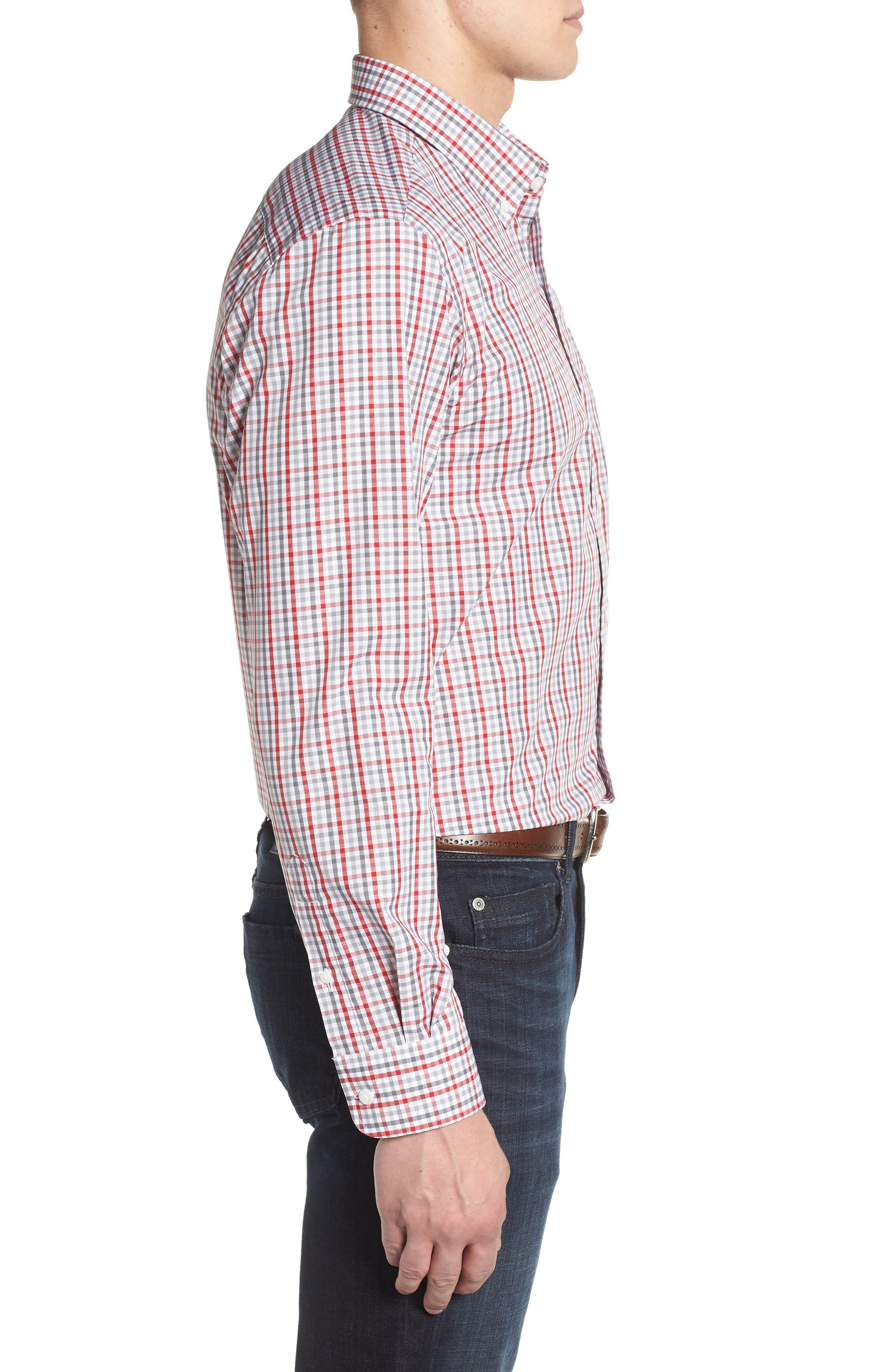 Washington - Gilman Regular Fit Plaid Sport Shirt,                             Alternate thumbnail 3, color,                             CARDINAL RED