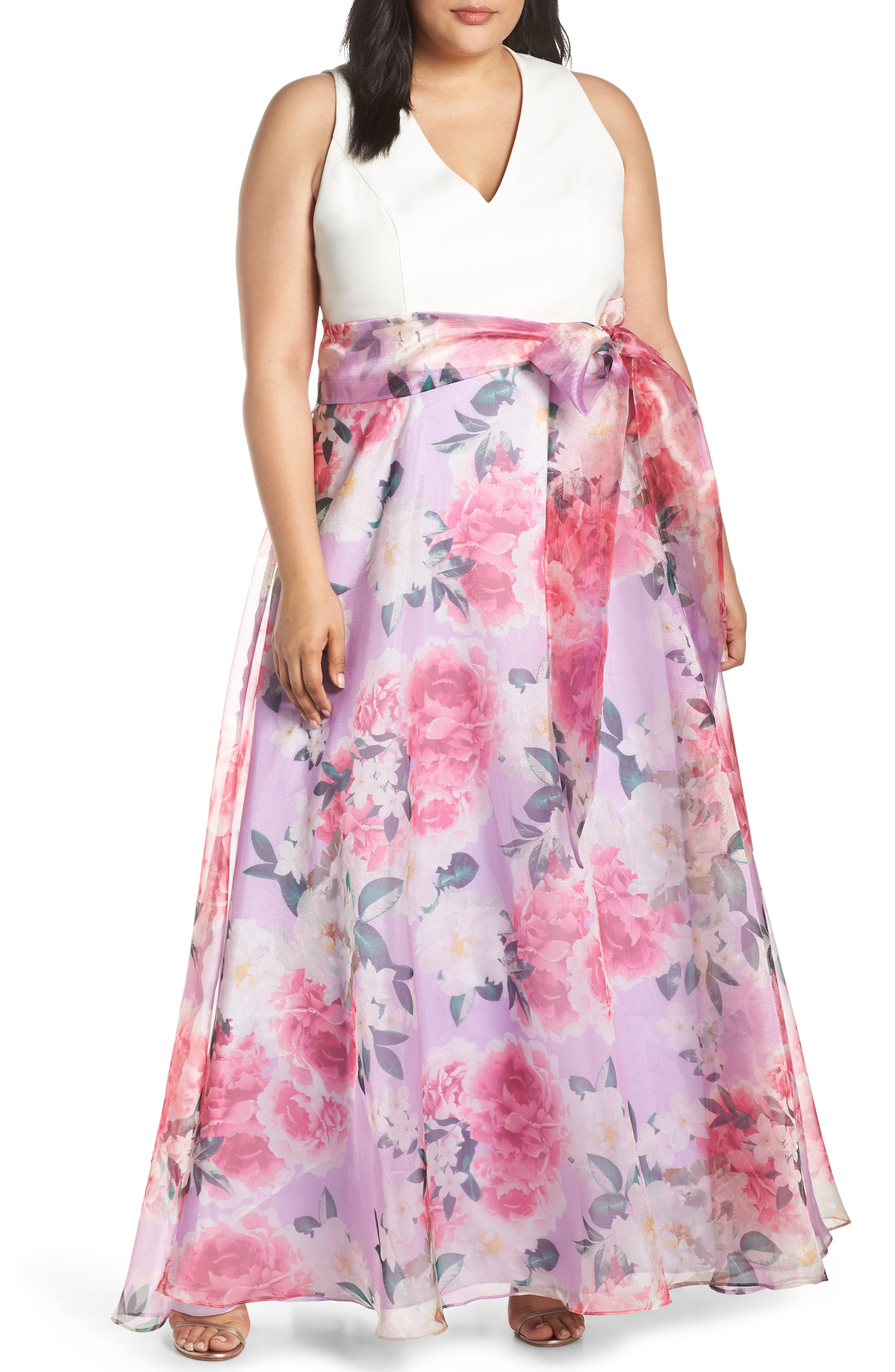 Plus Size Eliza J Floral Chiffon Evening Dress, Ivory