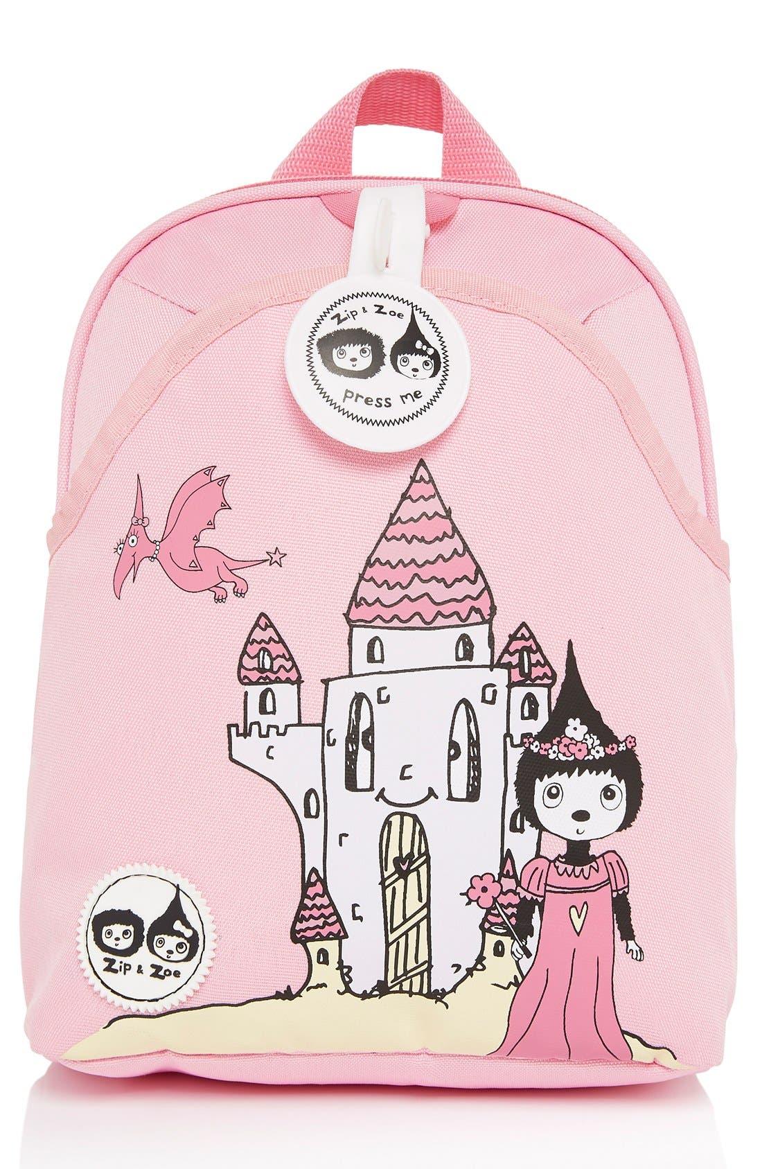 Graphic Mini Backpack,                             Main thumbnail 1, color,                             DAISY DRAGON CASTLE