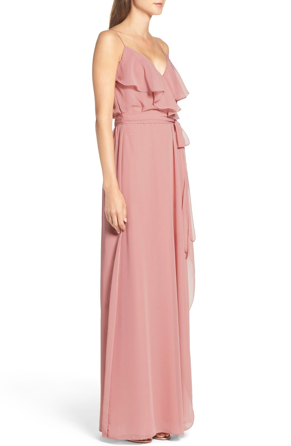 'Drew' Ruffle Front Chiffon Gown,                             Alternate thumbnail 36, color,