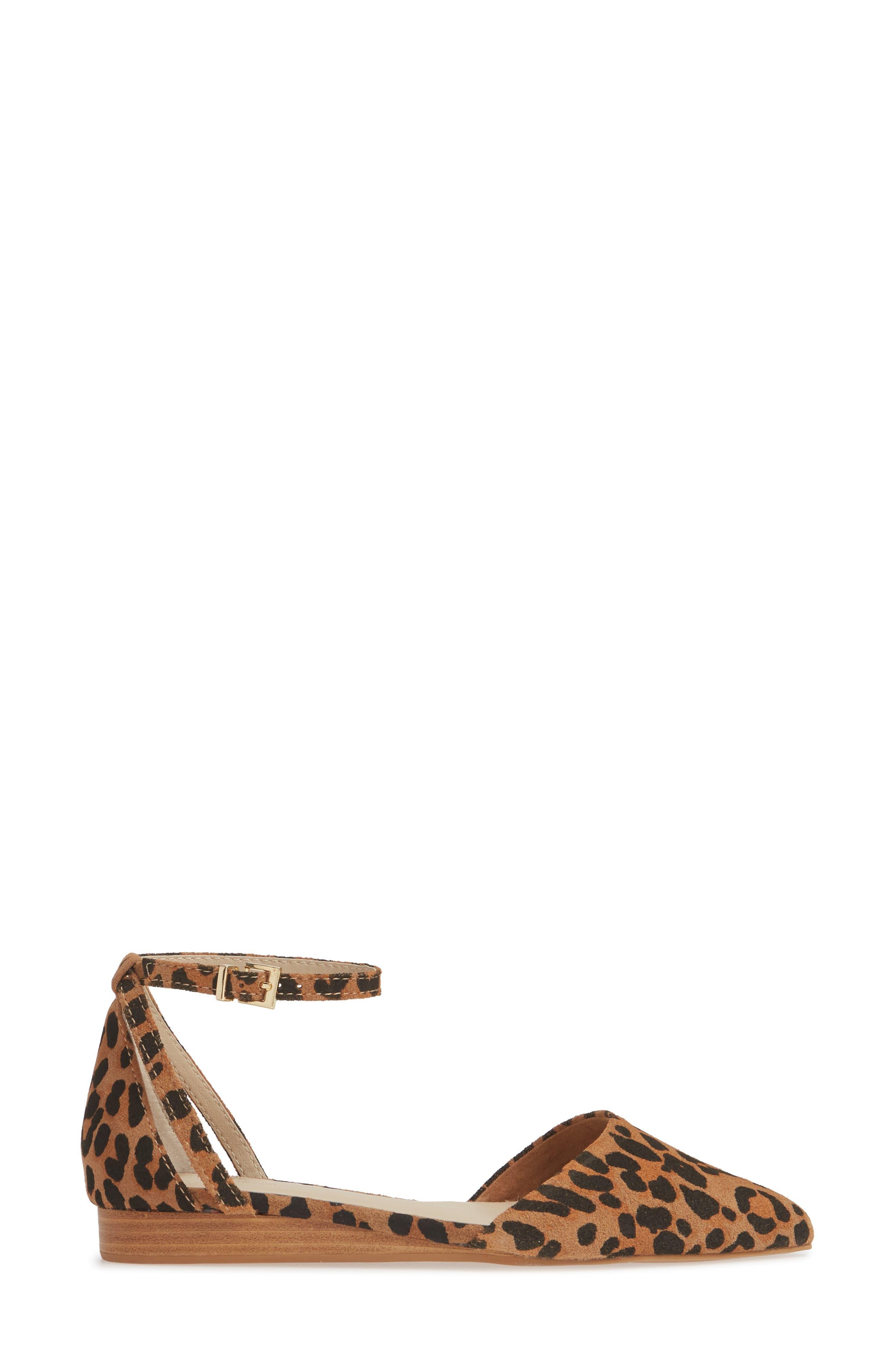 SEYCHELLES,                             Plateau Ankle Strap Flat,                             Alternate thumbnail 3, color,                             LEOPARD SUEDE