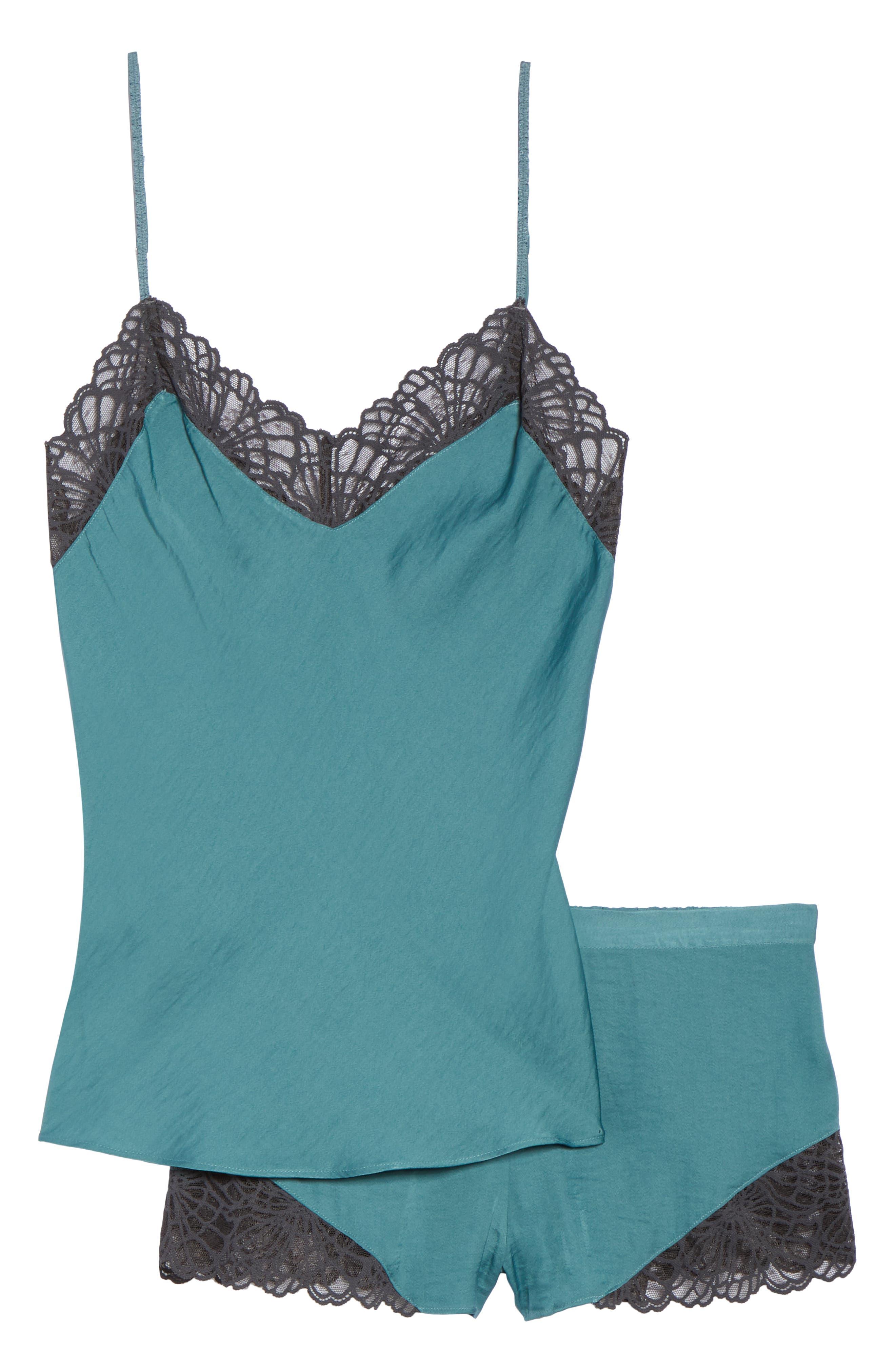 Colette Camisole & Short Pajamas,                             Alternate thumbnail 6, color,                             DUSTY JADE